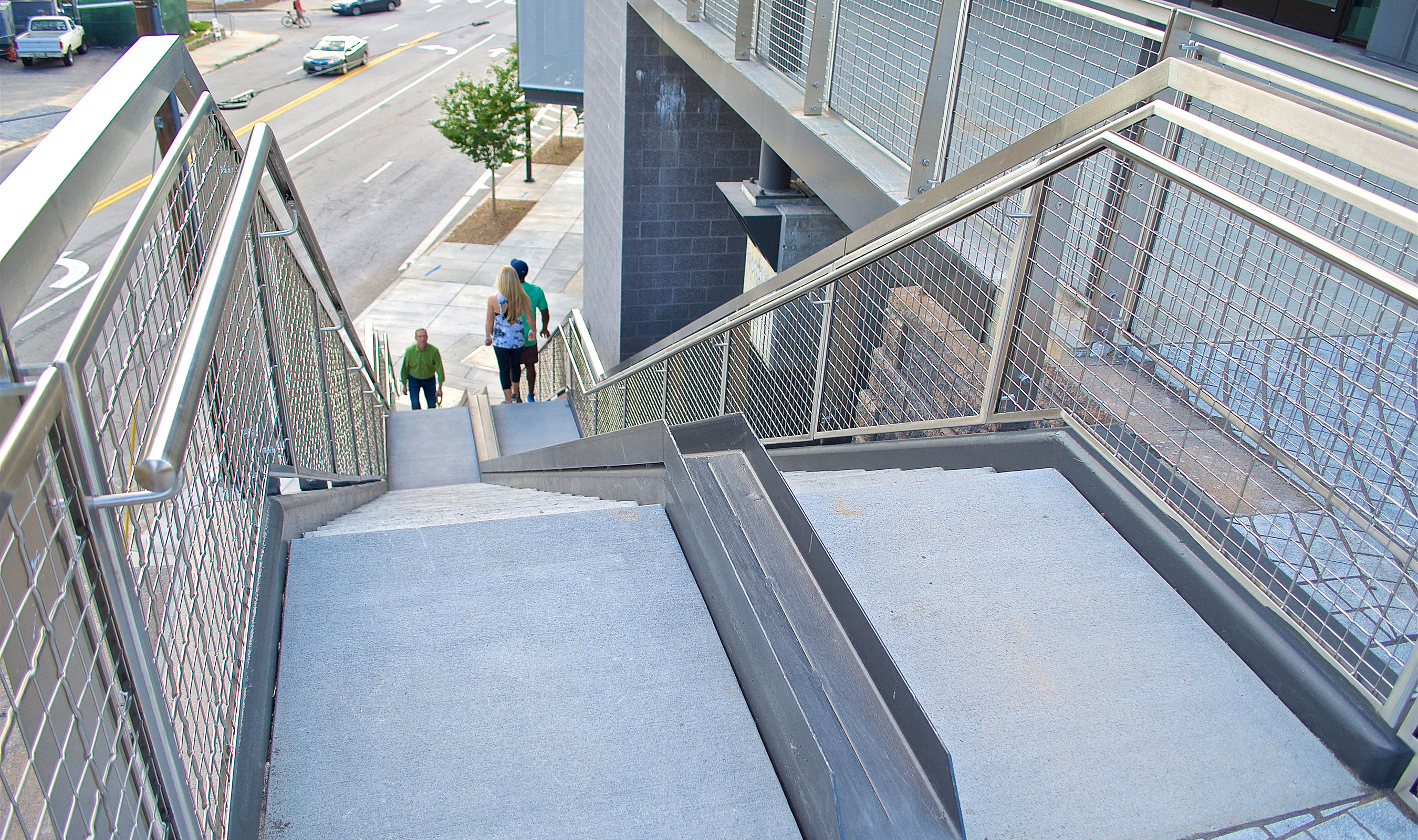 Banker Wire's SJD-3 woven wire mesh in stainless steel provides infill for 5,040 linear feet of railings along the BeltLine's Westside Trail — a 3-mile railroad corridor that was converted to a multi-use trail.