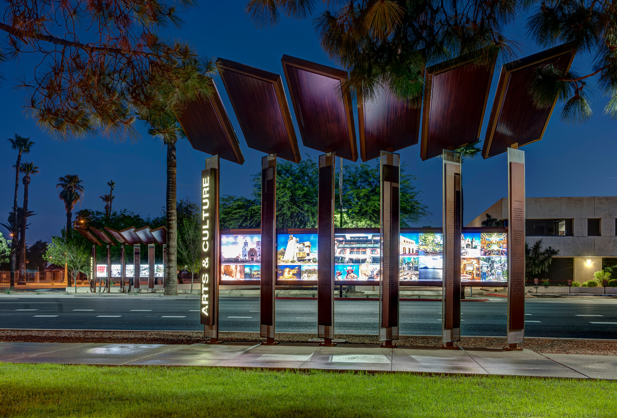 At night, the stainless steel of S-4 picks up and highlights the various colors glowing from the displays.