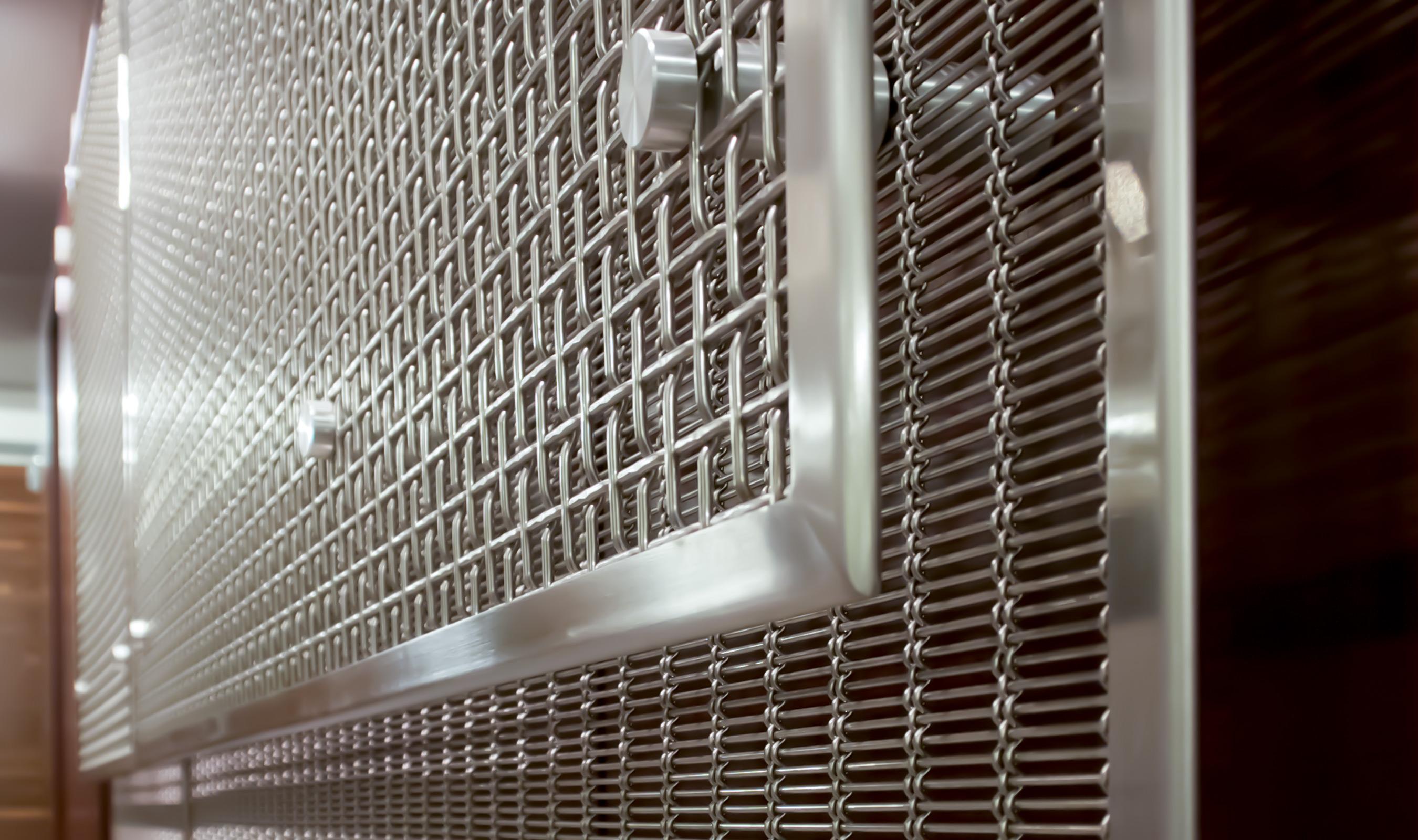 F-48 wire mesh panels using wall standoffs