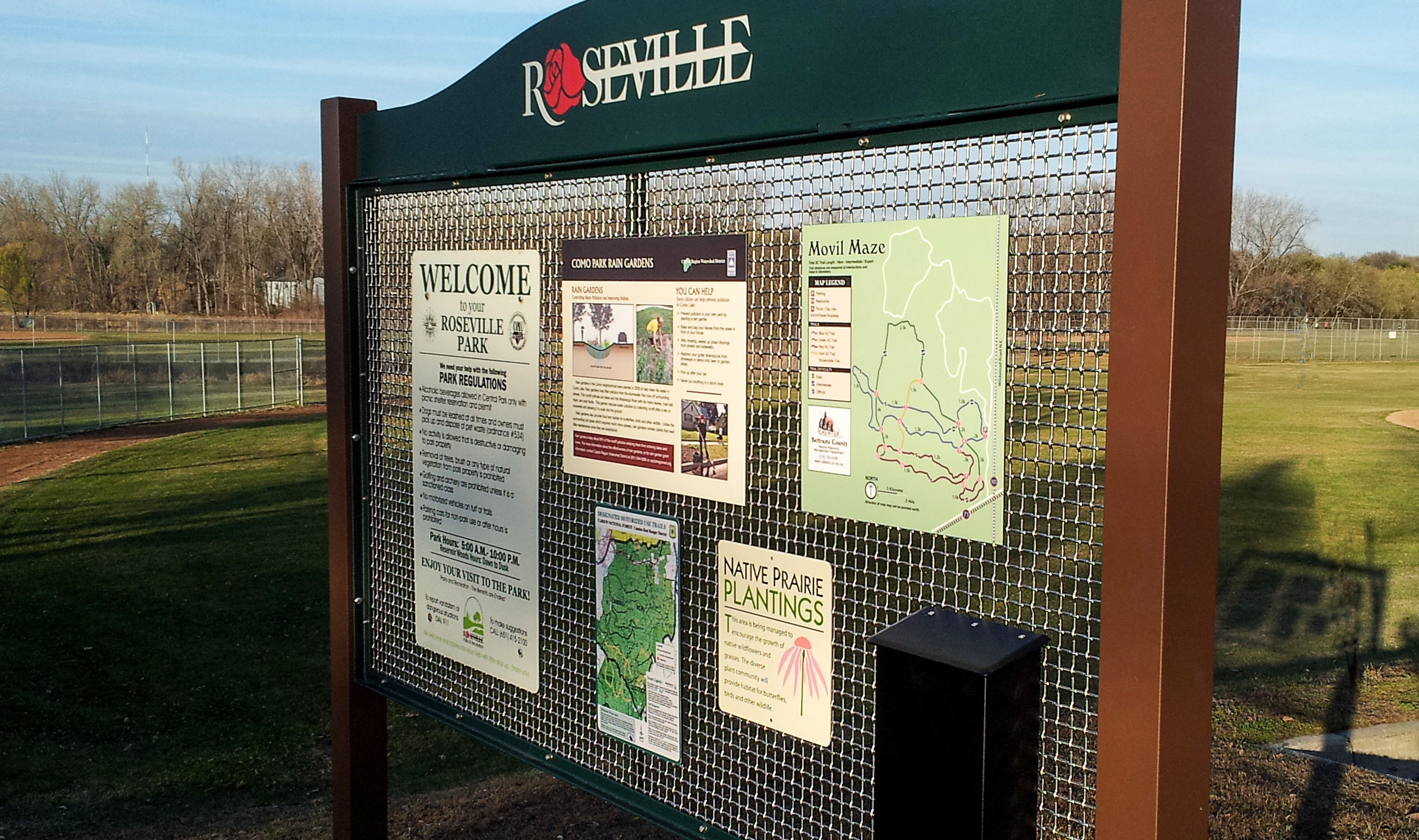 F-48 wire mesh sign at Roseville Park