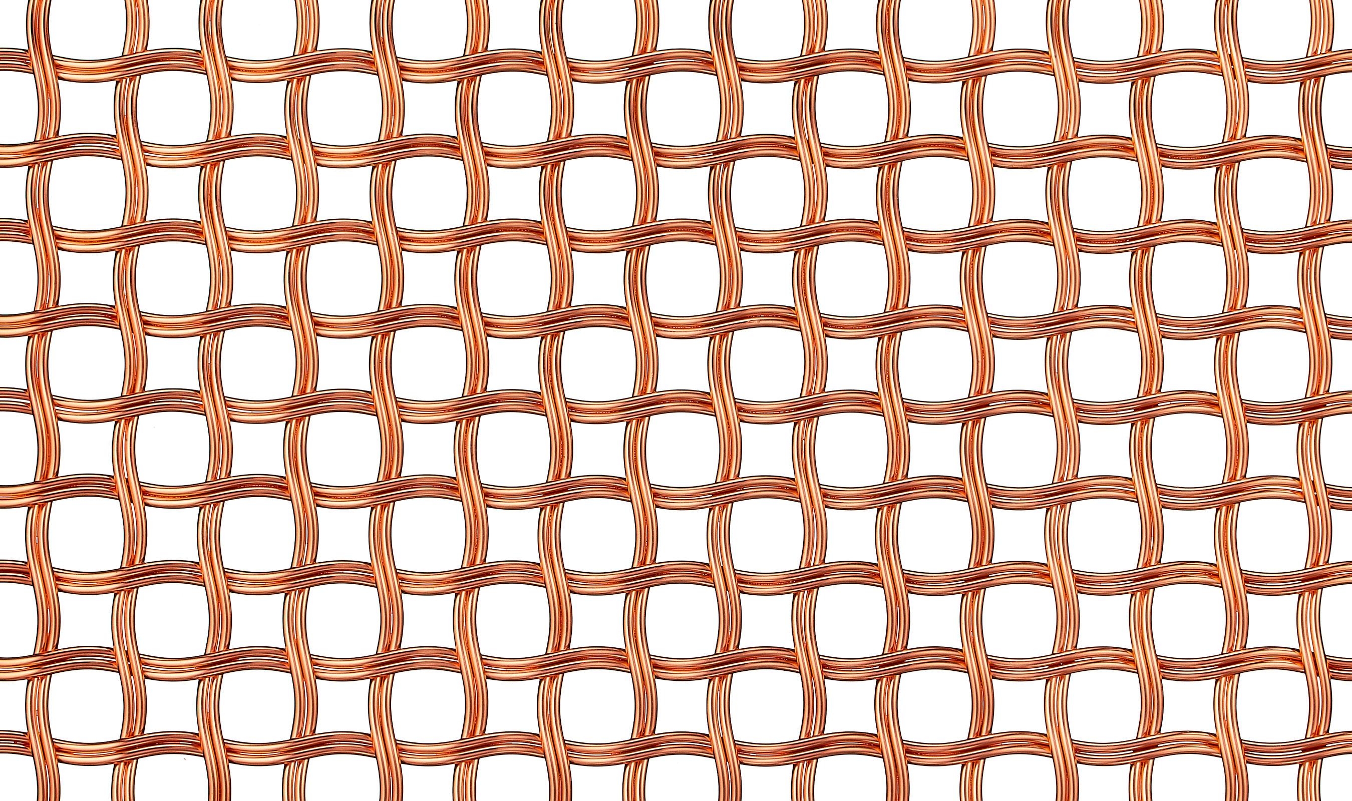 Banker Wire M22-80 decorative wire mesh shown in Bright Copper plated finish