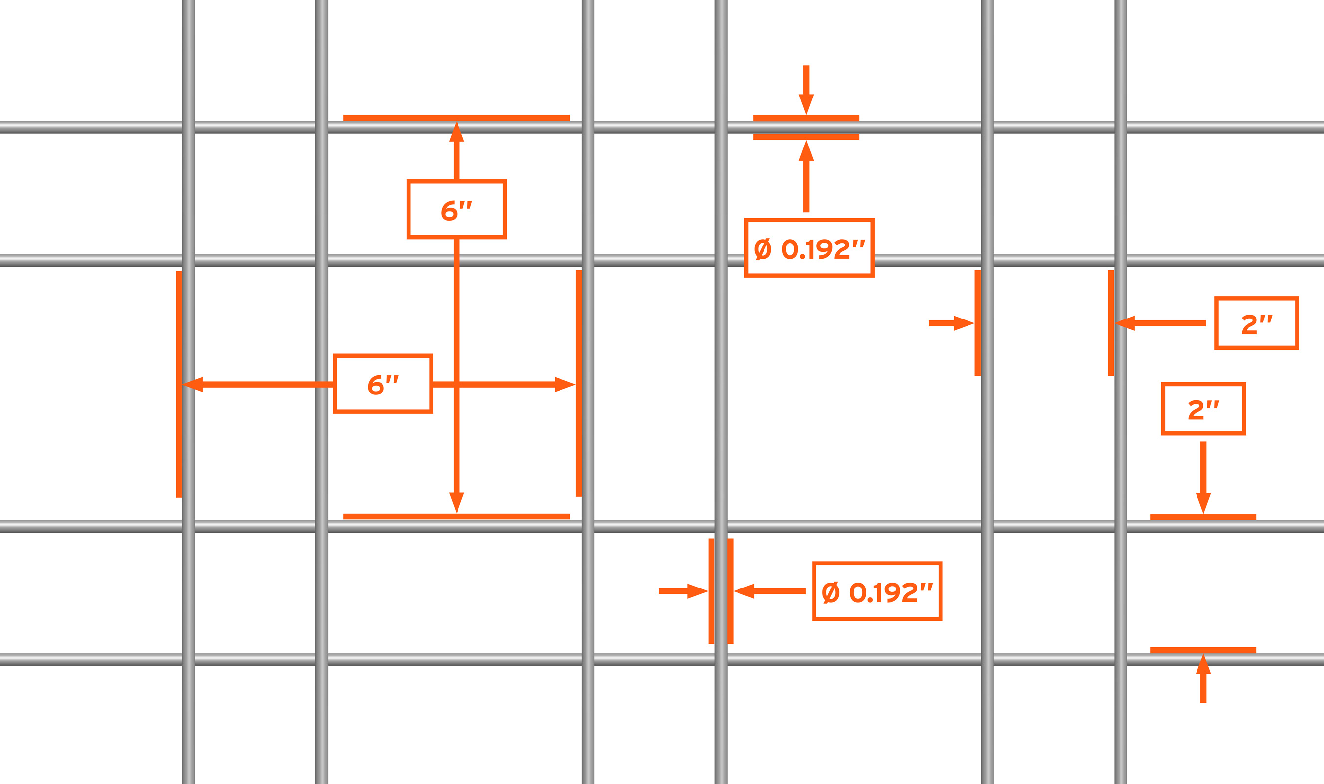 "The WD-278 is a square repeating ornamental welded wire mesh pattern consisting of 2 wires every 6 inches. A Standard 48""x96"" panel consists of 8 patterns by 16 patterns. A standard 60""x120"" panel consists of 10 patterns by 20 patterns."