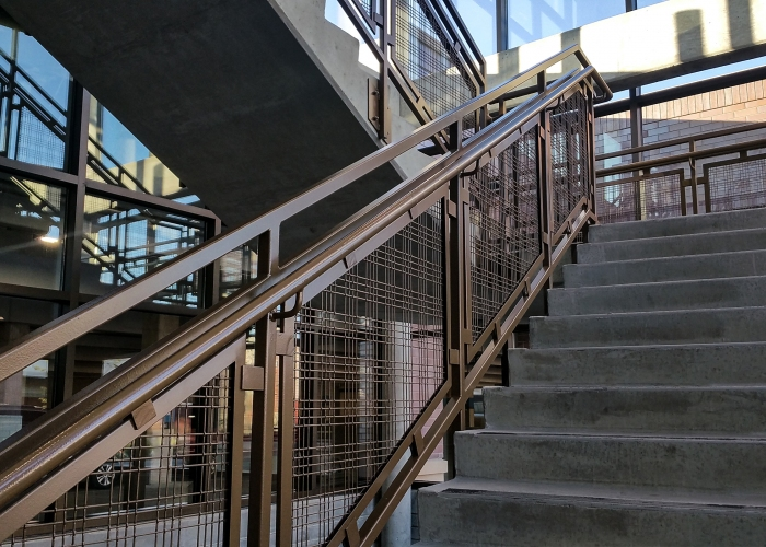 railing along the stairway architectural mesh