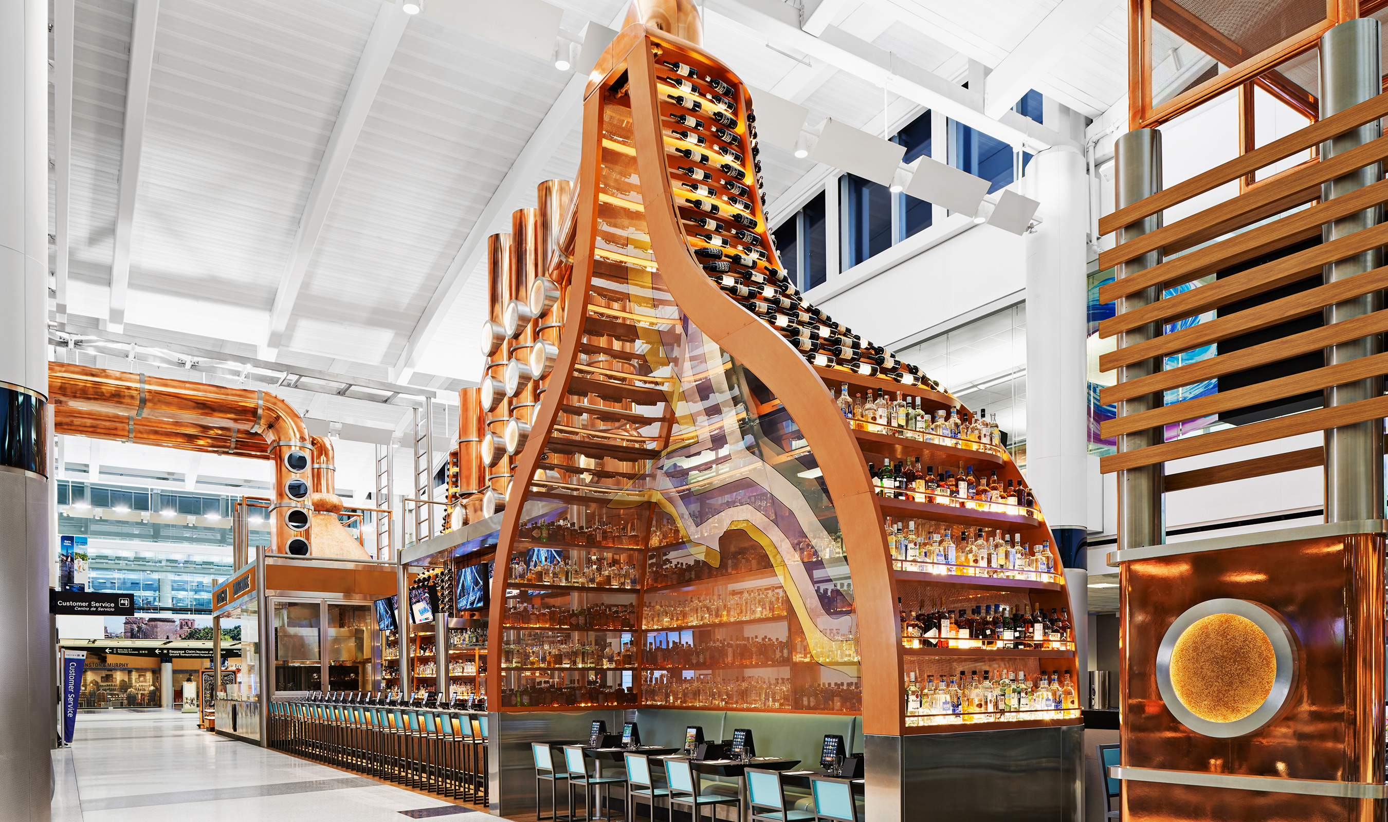 Design by Rockwell Group, the restaurant displays are reminiscent of brewery kettles.