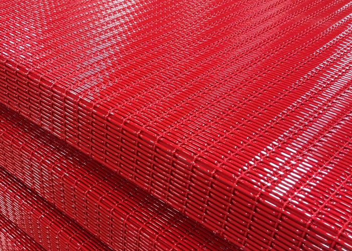 High gloss red powder coated woven wire mesh