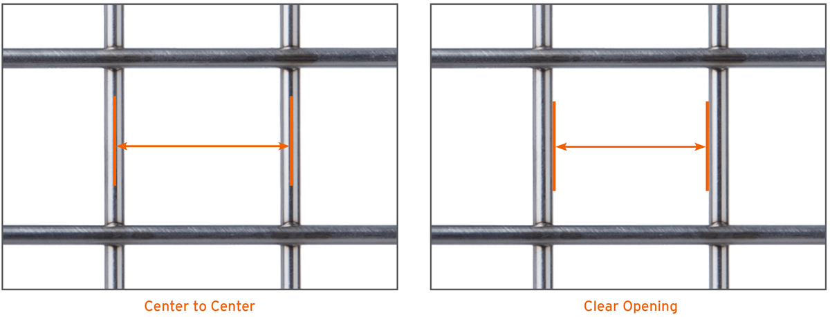 an example of our Weld mesh, center to center, and clear opening