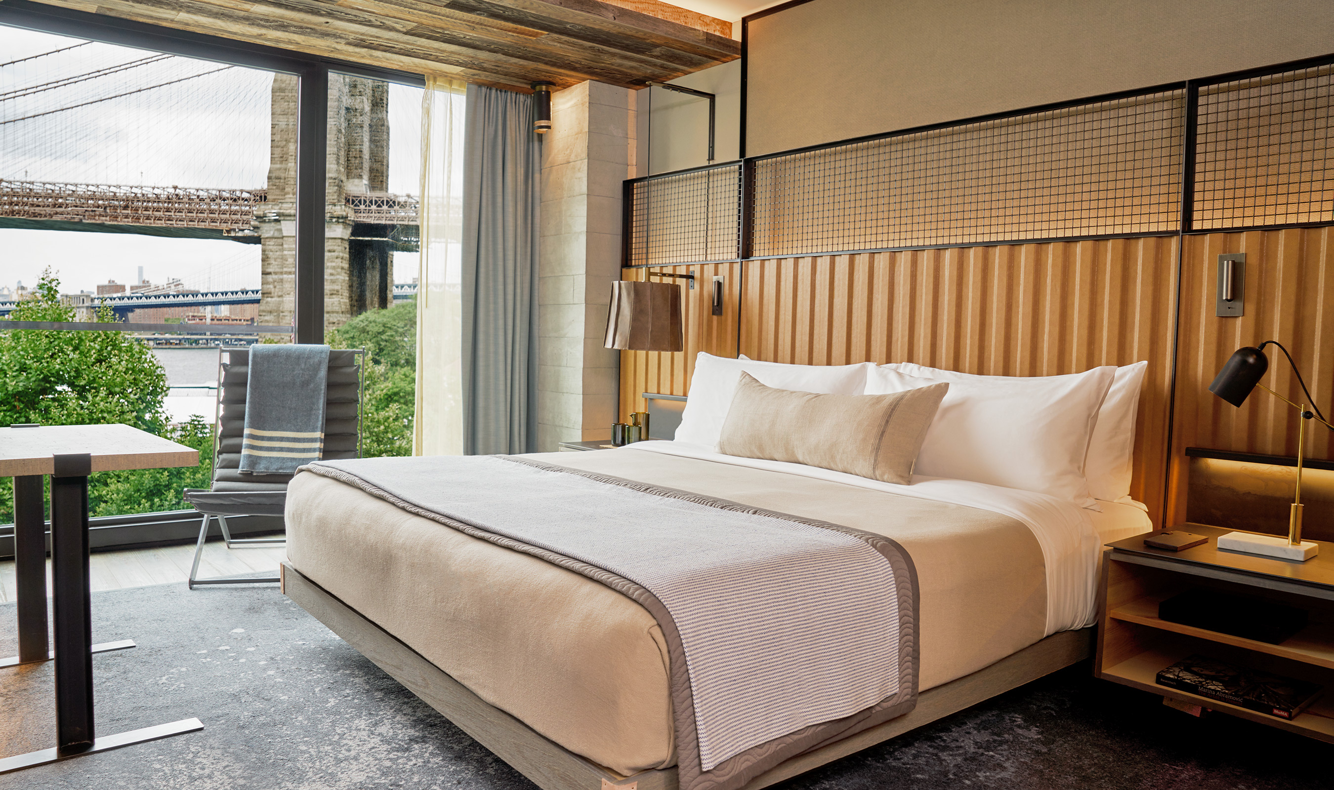 L-85 wire mesh is used as decorative furniture accent above the beds in the 1 Hotel Brooklyn Bridge rooms.
