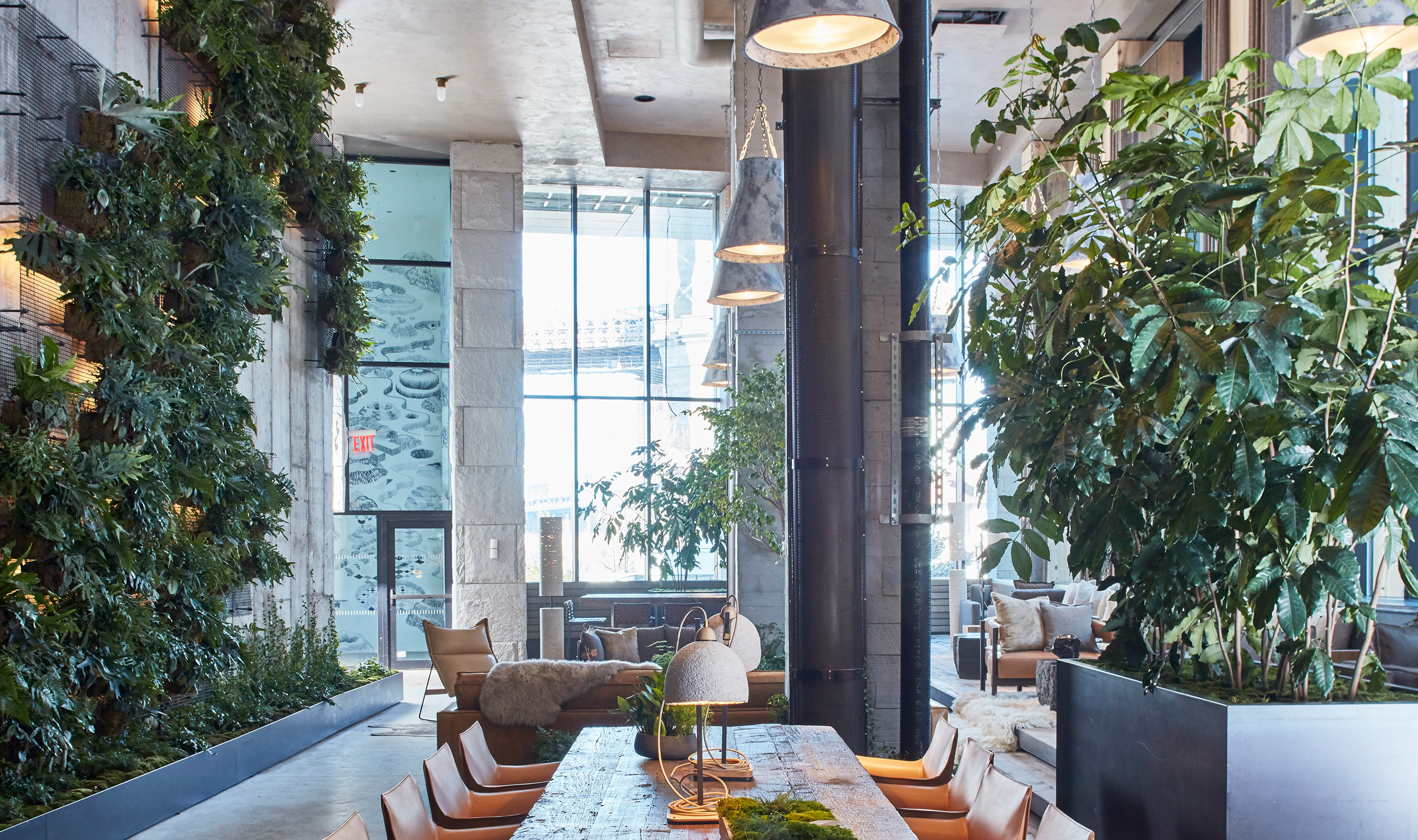 The newly opened 1 Hotel Brooklyn Bridge in Brooklyn's iconic Dumbo neighborhood features a touch of greenery in the guest rooms and public spaces, bringing the outdoors inside.