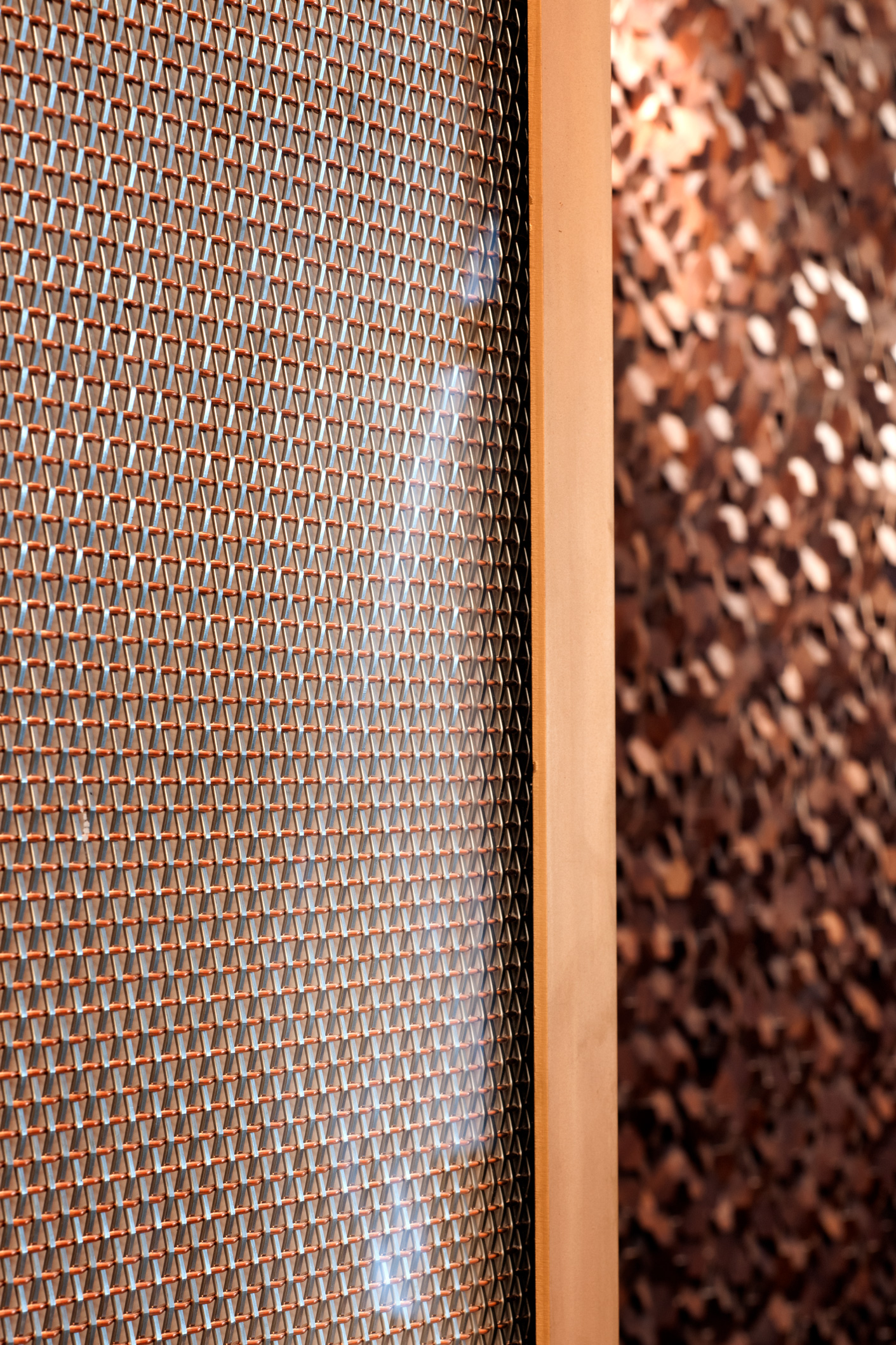 The SZ-4 wire mesh pattern in copper and stainless steel perfectly complements the warmth of the renovated entrance.