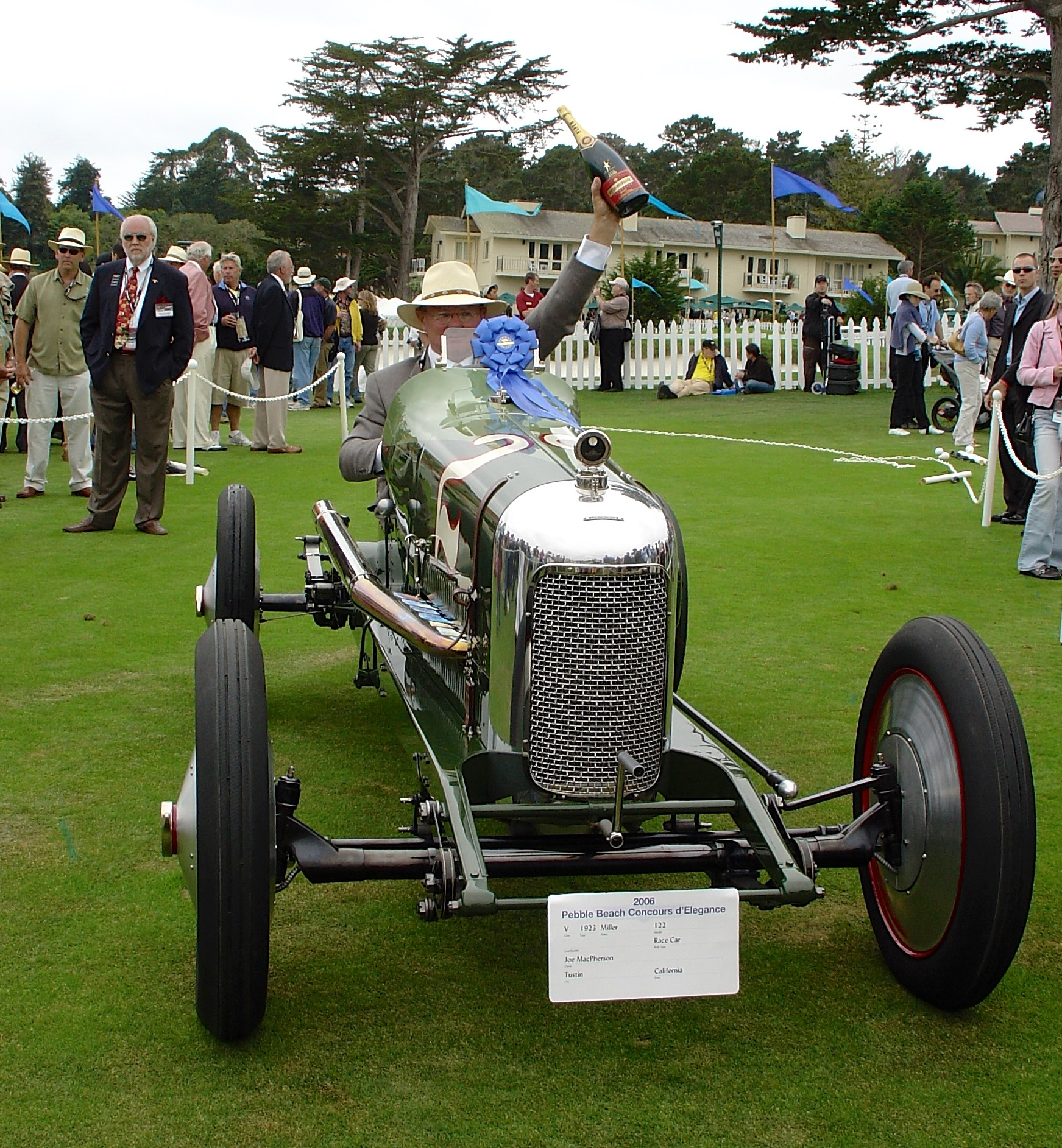 This 1925 Miller 122 Supercharged race car, featuring Banker Wire mesh, was entered into the 2006 Pebble Beach Concours d'Elegance event and won first place in Class V, Open Wheel Race Cars.