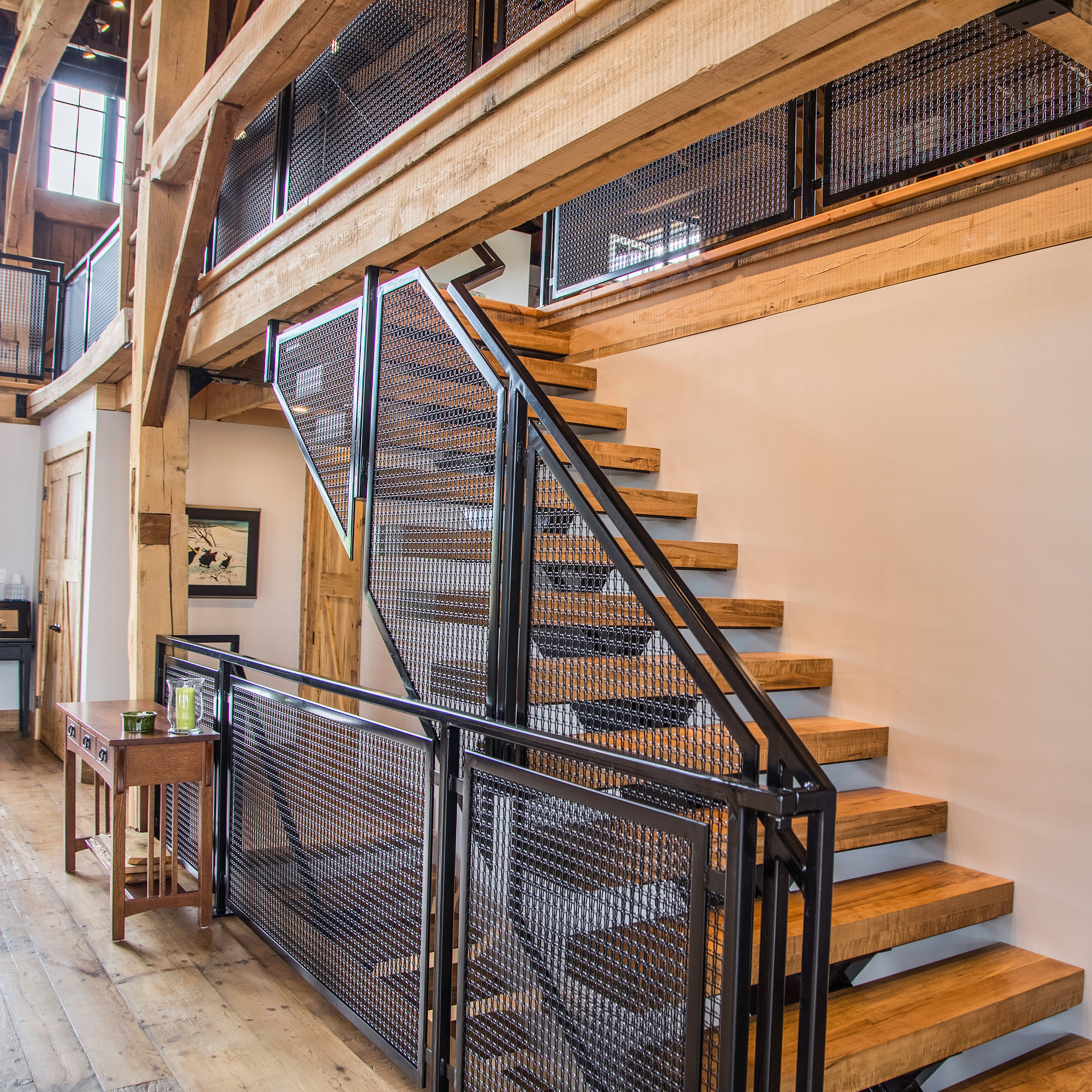 Wire mesh staircase