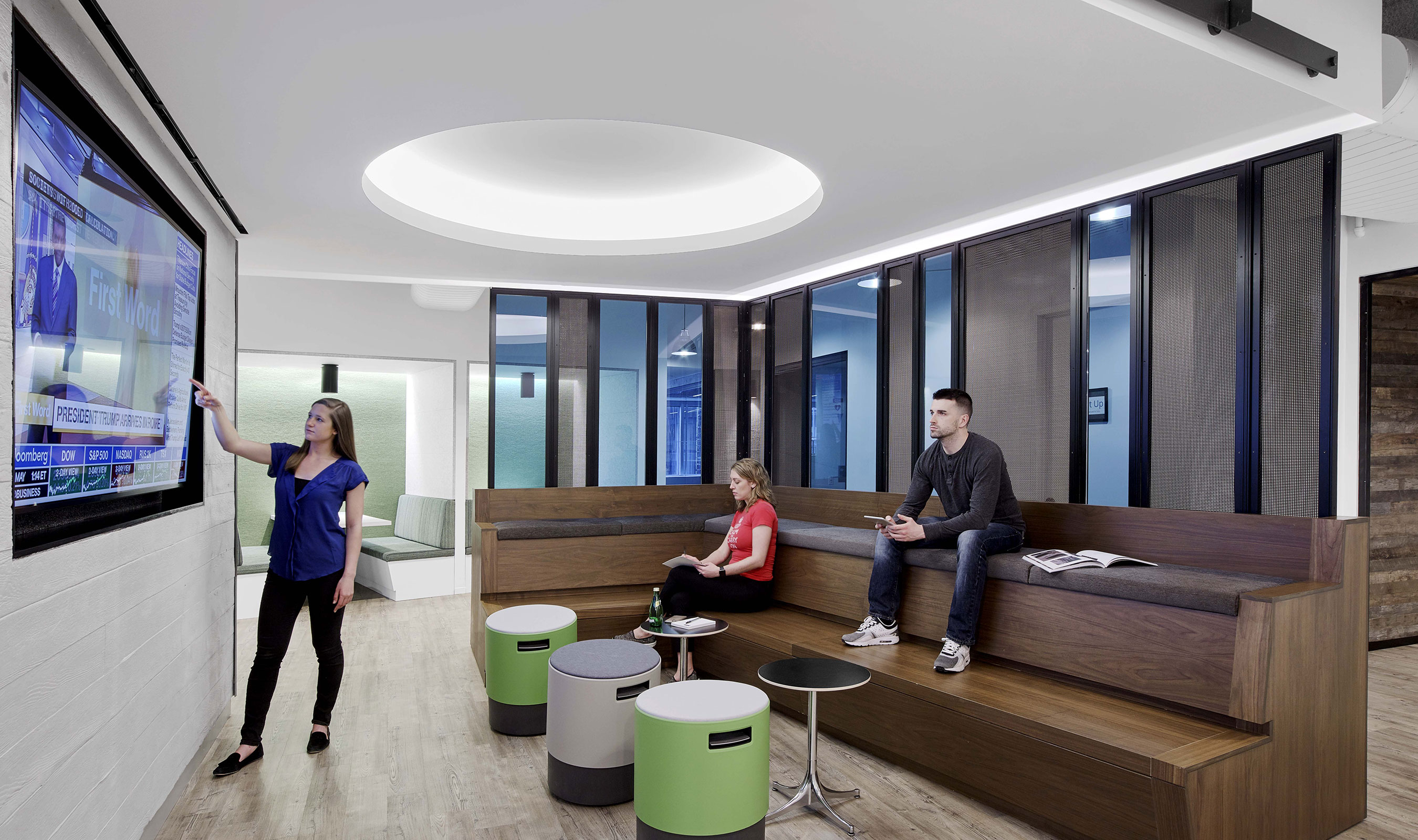 A prominent industrial-inspired design element — used throughout the hallways, breakout areas and meeting spaces —  was crafted from Banker Wire's S-12 architectural wire mesh.