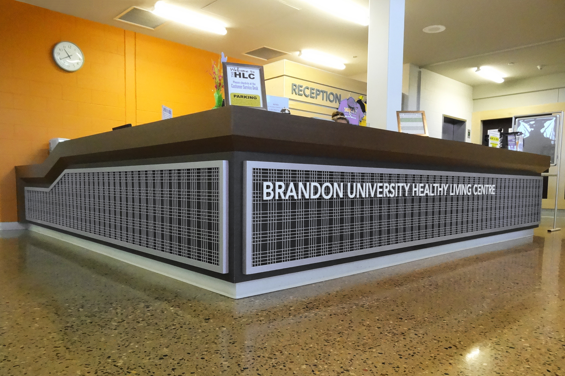 Banker Wire angle iron frames with a powder coat finish make a statement as you enter this university building.