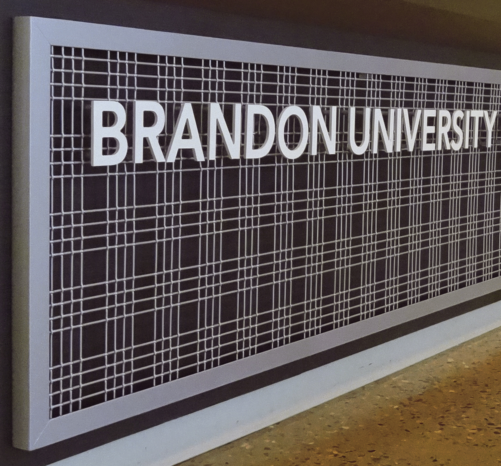 M44-2 woven wire mesh helps make this university's name pop.