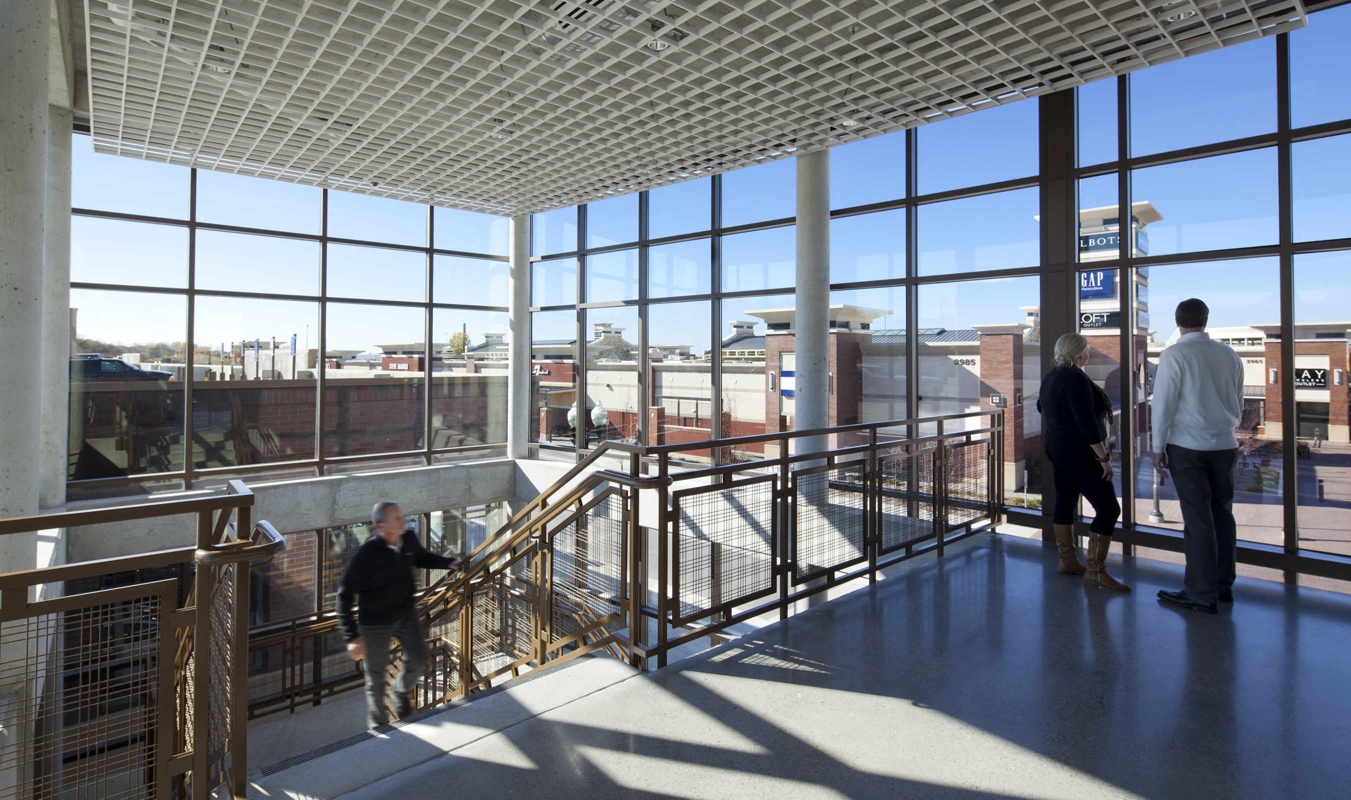Banker Wire's M44-2 is utilized as the railing infill panels on the interior stairs of the parking garage.