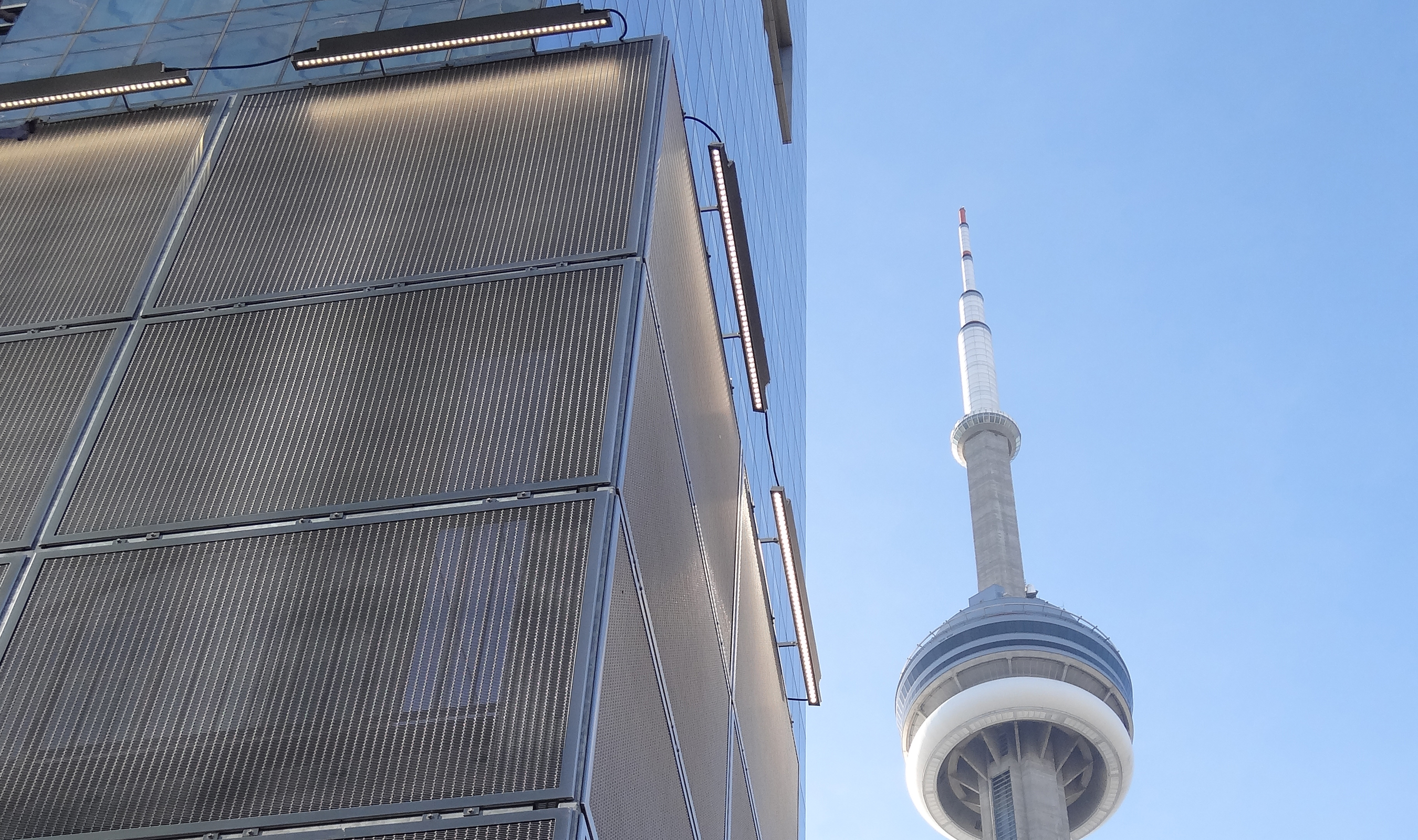 Banker Wire mesh encloses an exterior staircase in a hotel in the heart of Toronto.