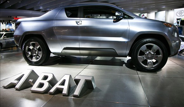 The DS-2 opaque style mesh is used to clad a custom display for the Toyota A-BAT concept car at the Detroit Auto Show.