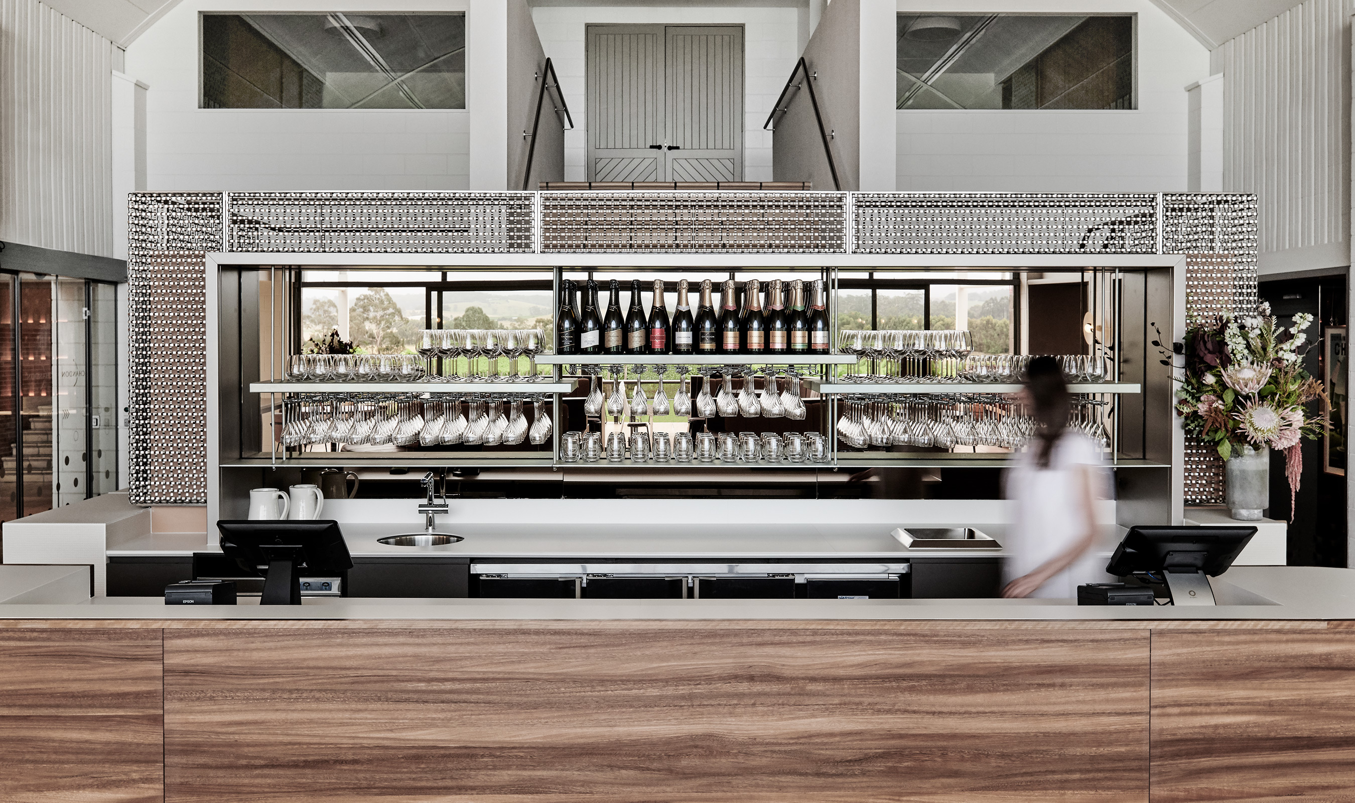S-15 is a large flat wire wave used within the Domaine Chandon Restaurant as a clean and modern accent to it's beautiful interior.