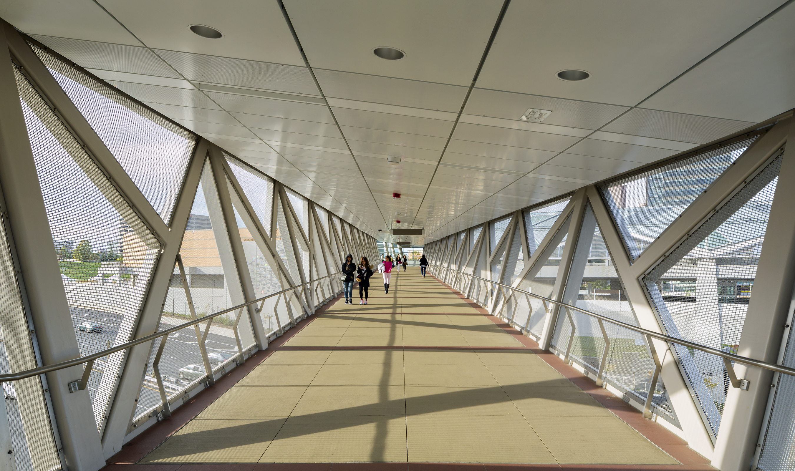 Banker Woven wire mesh was used to fill triangular openings in the pedestrian bridges.