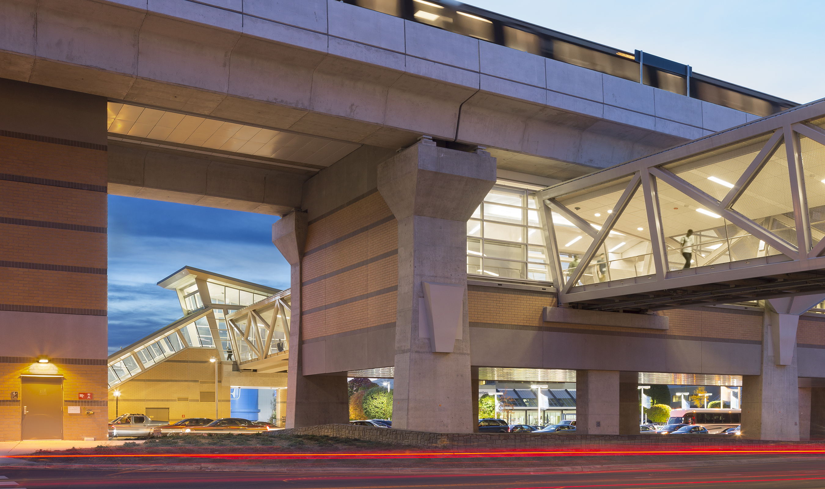 The pedestrian bridges connect metro stations to parking lots – helping commuters cross busy roads more safely.