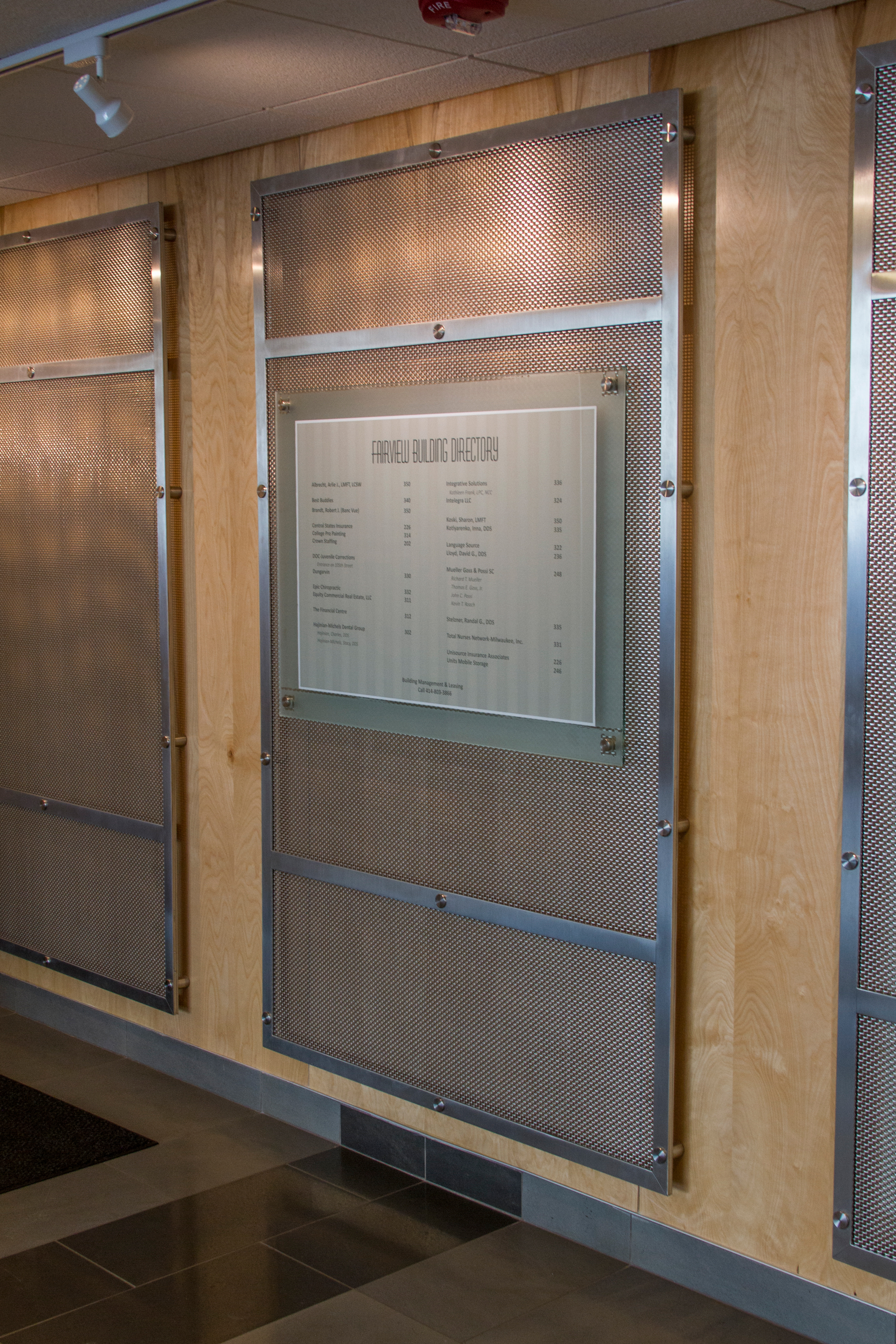 The main goal of the project was to not only provide a modern look to the lobby, but to obscure the large vent registers on the walls while still allowing air to pass through.