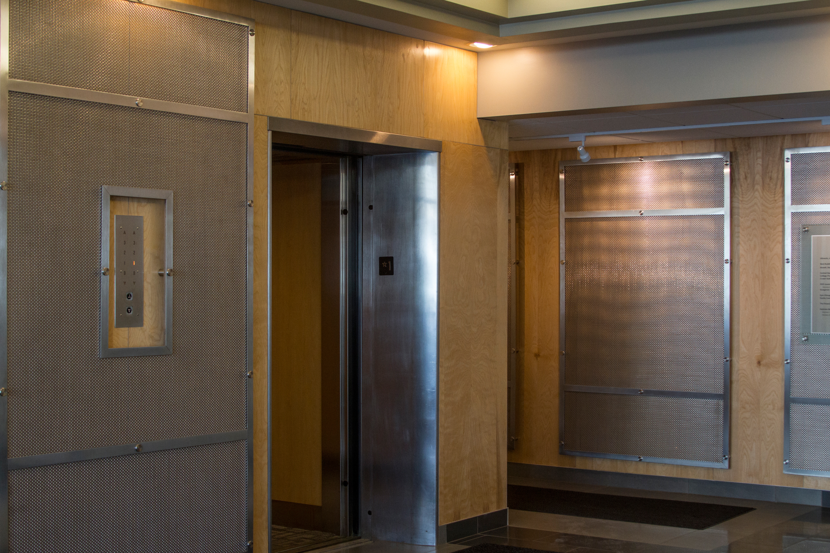 Banker Wire mesh helps create an inviting lobby.