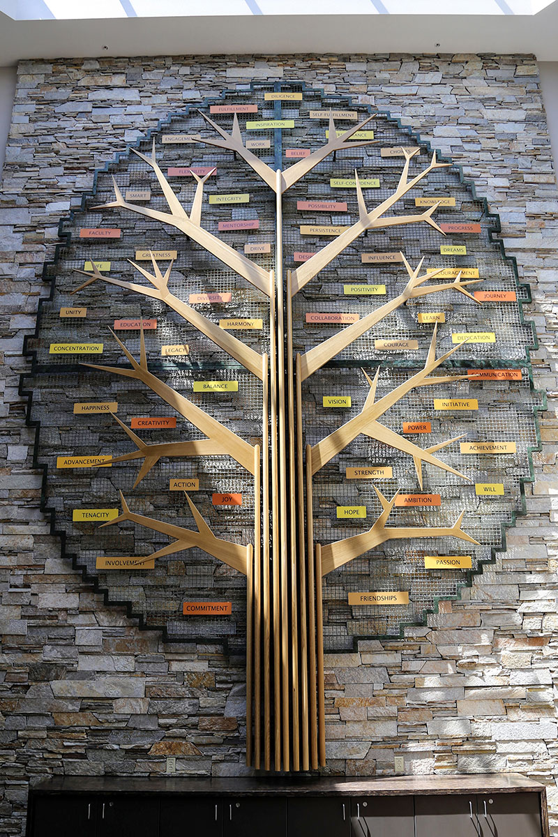 """Students contributed to the finished sculpture, which features Banker Wire """"foliage."""""""