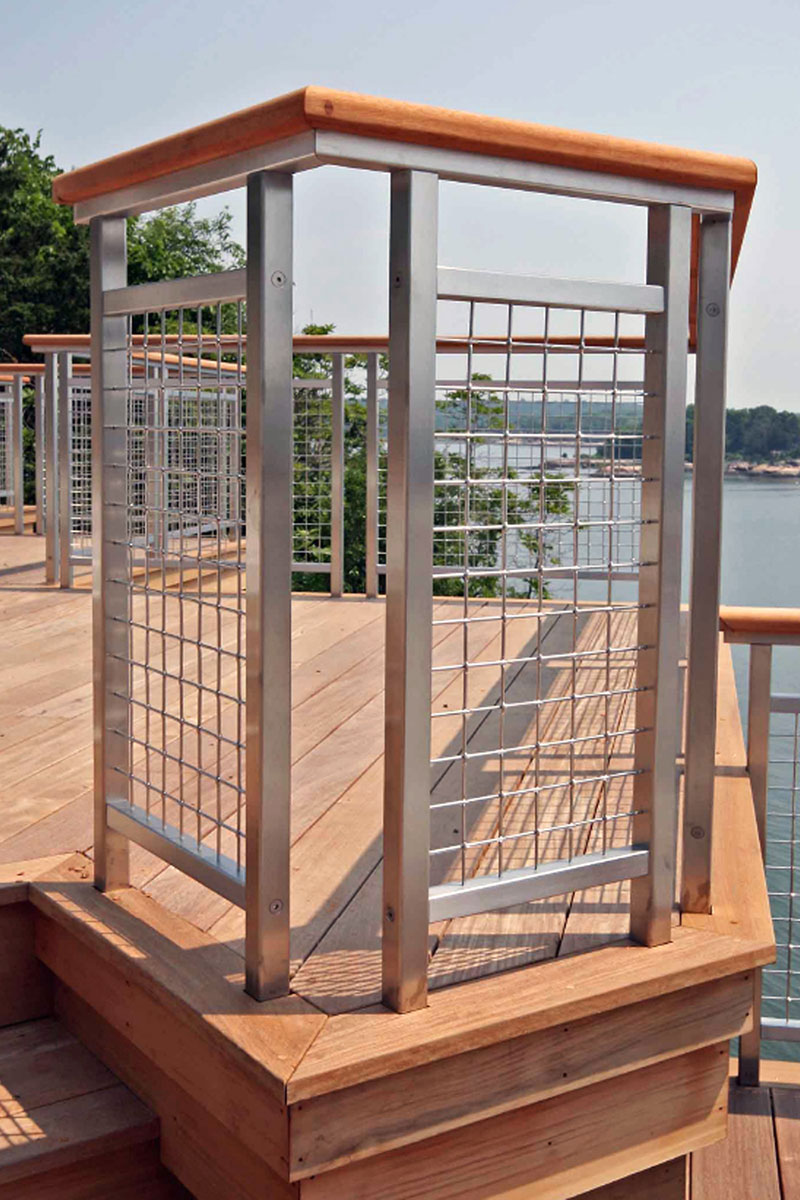 A combination of stainless steel and cedar blends nicely against the Atlantic background.