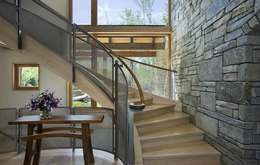 Banker Wire mesh allows for uninterrupted transmission of natural light in this home.