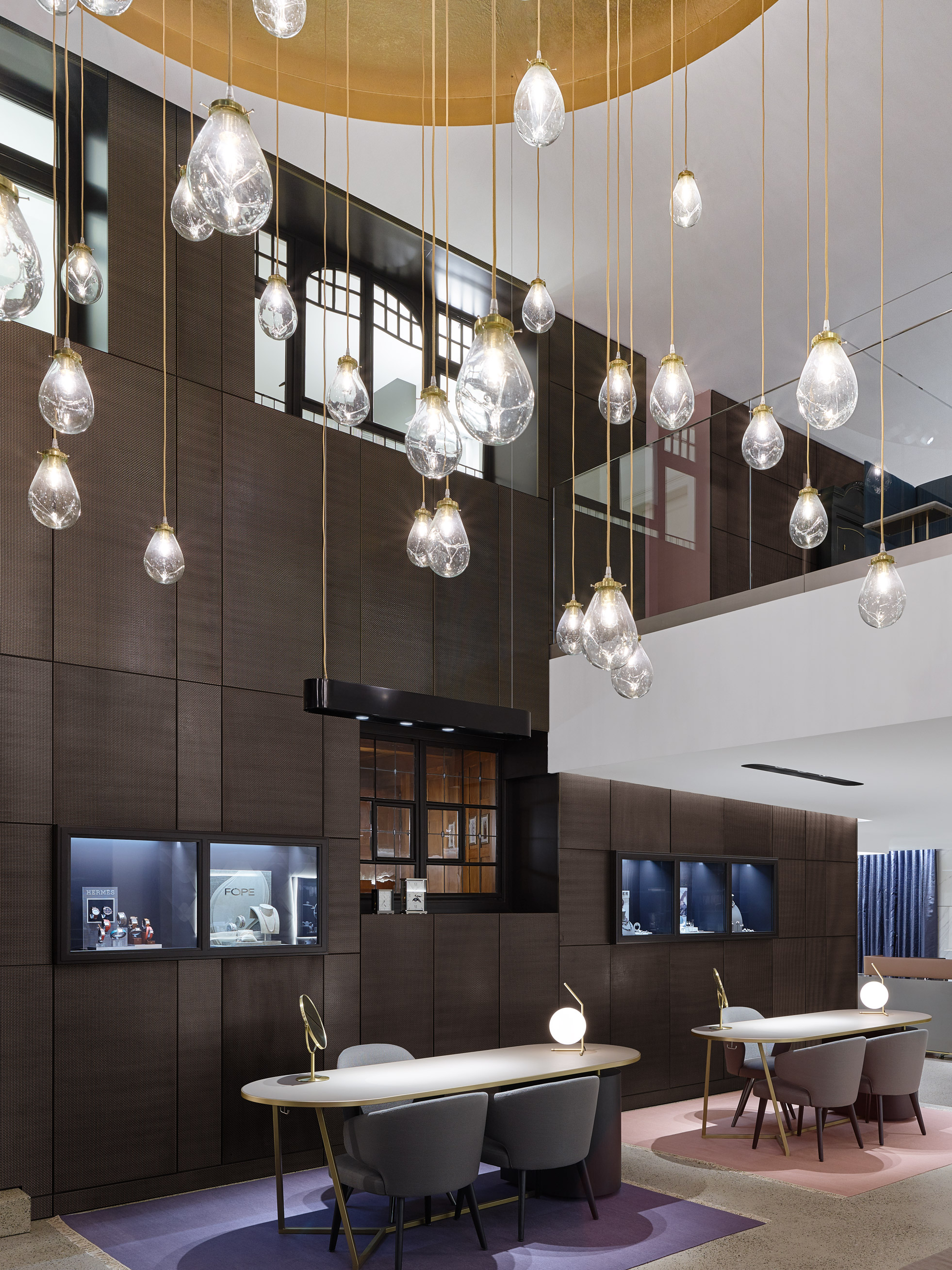 The beautiful custom lighting in the updated Hunke Jewelry store allows light to sparkle off the S-12 decorative mesh.