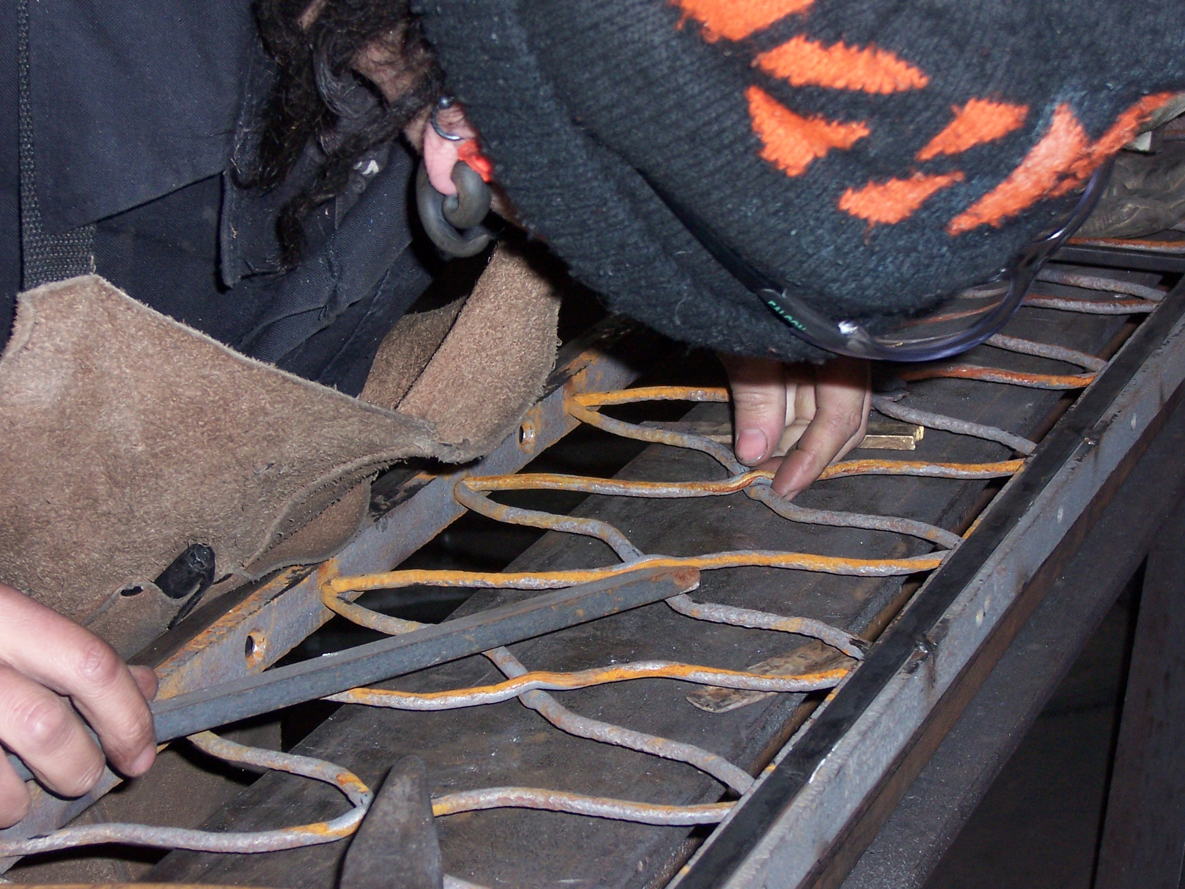 Crimped wires were assembled by hand to recreate the original ironwork.