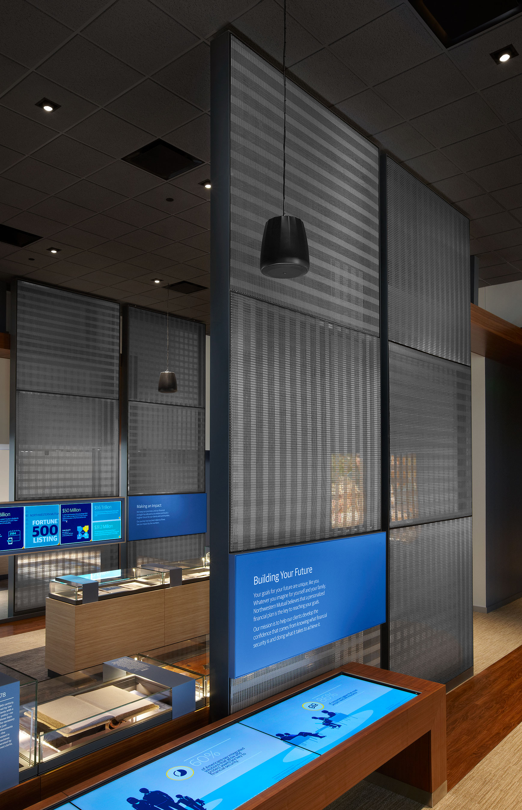 """""""We liked the idea of having a sense of transparency but also dividing the exhibit area to create partitions to support the interactive display systems,"""" explained Tim Moraitis, a UX Strategist at Downstream."""