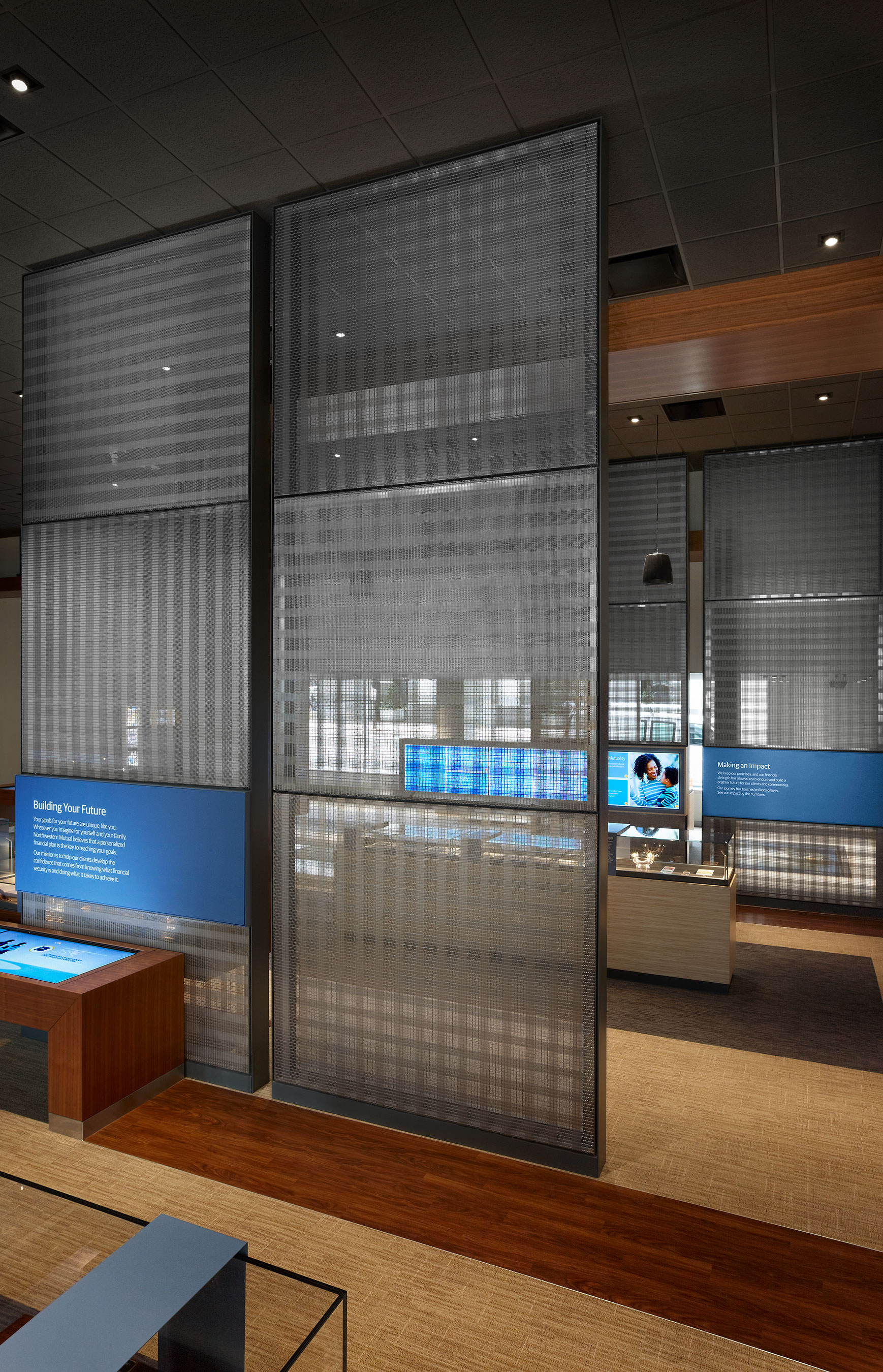 The public exhibit features Banker Wire's  PFZ-53 wire mesh in stainless steel.
