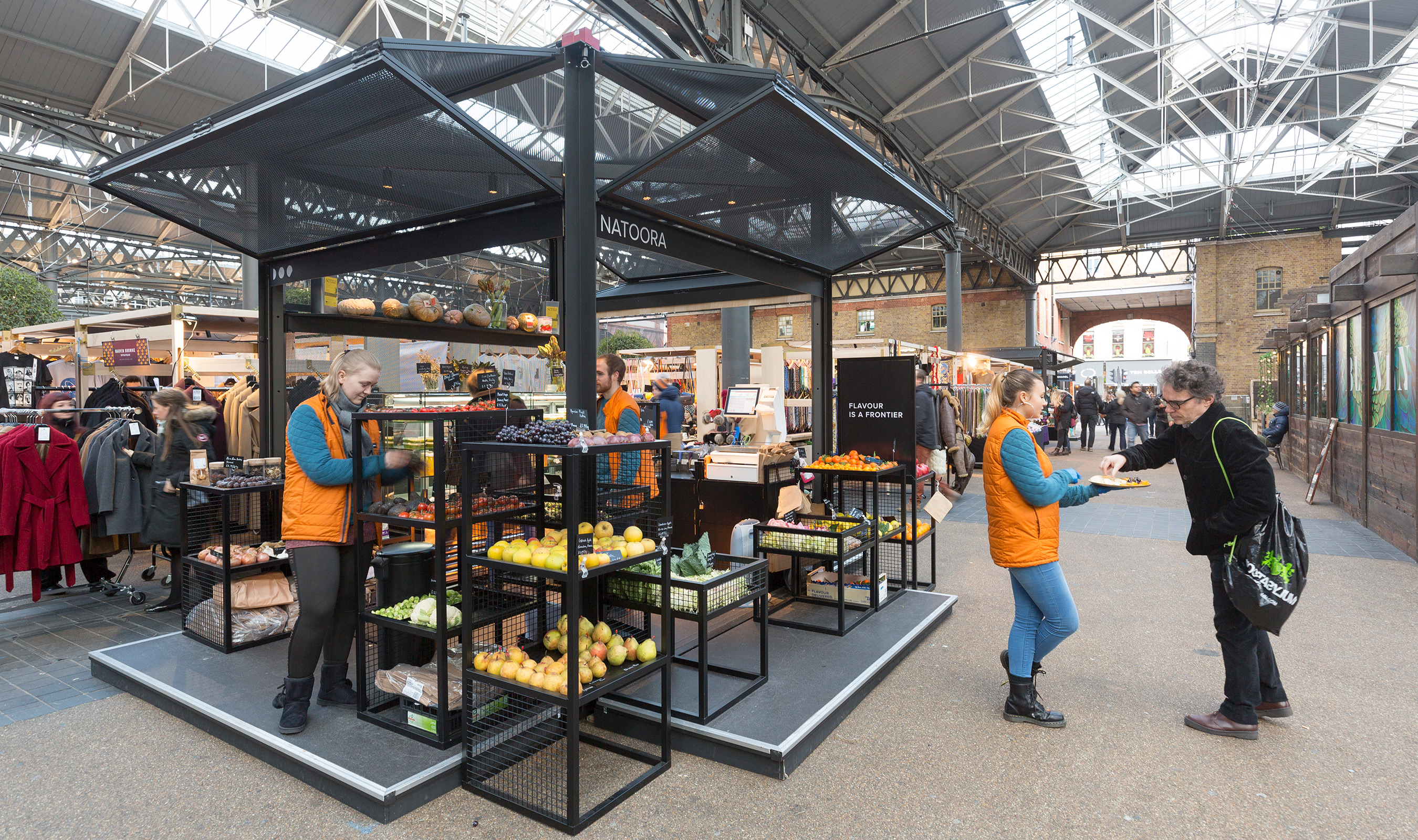 Wire mesh is a beautiful material to use for these market pods in Old Spitalfields Market.