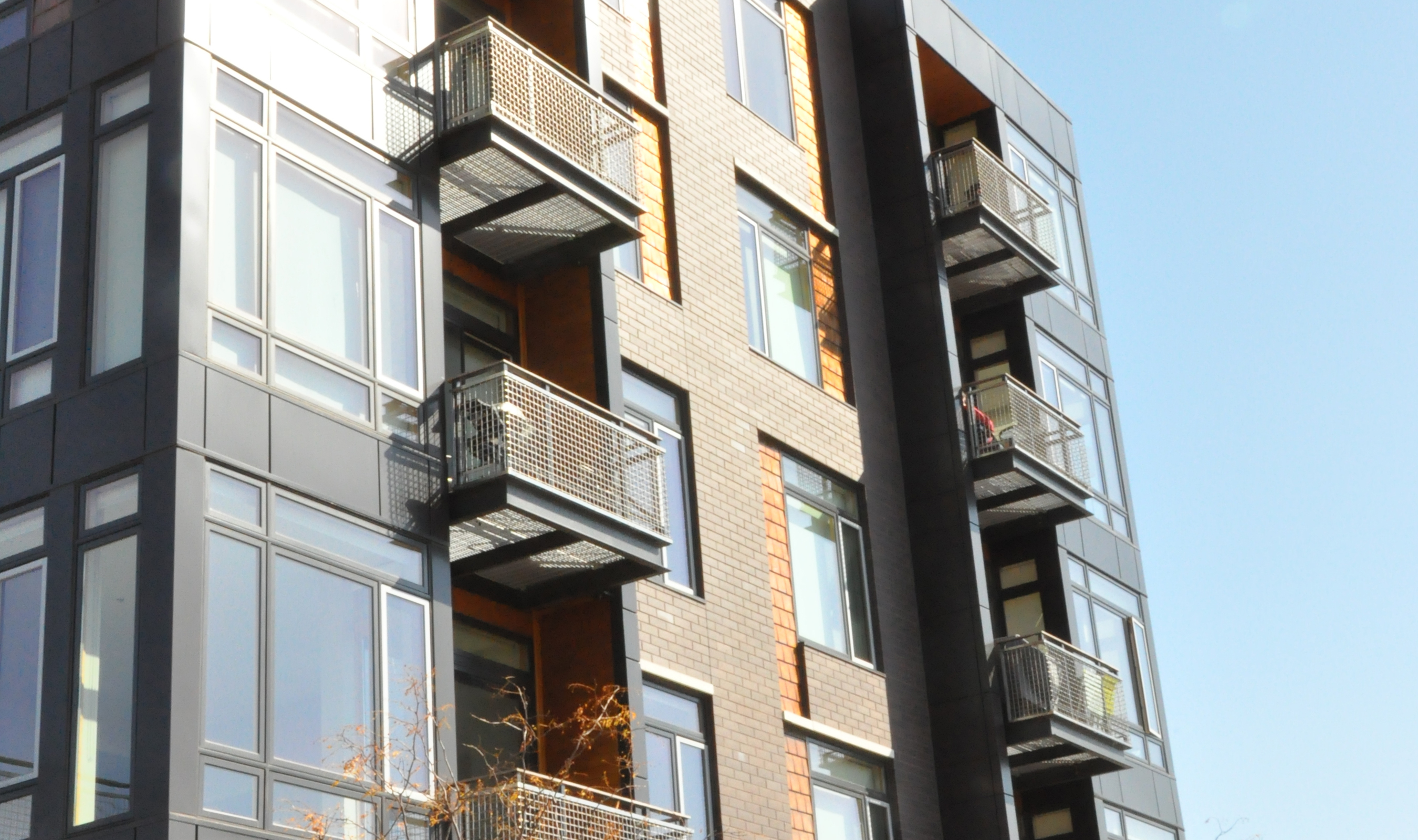 The balconies for this mixed-use building were fabricated using Banker Wire's L-62 woven wire mesh in stainless.