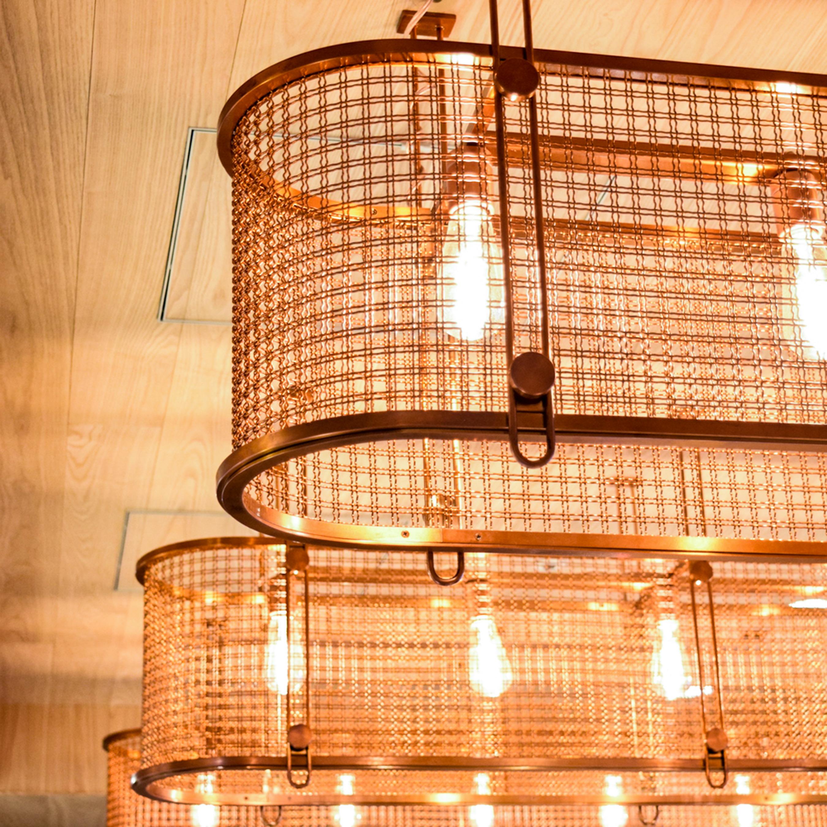 Wire mesh light fixture detail