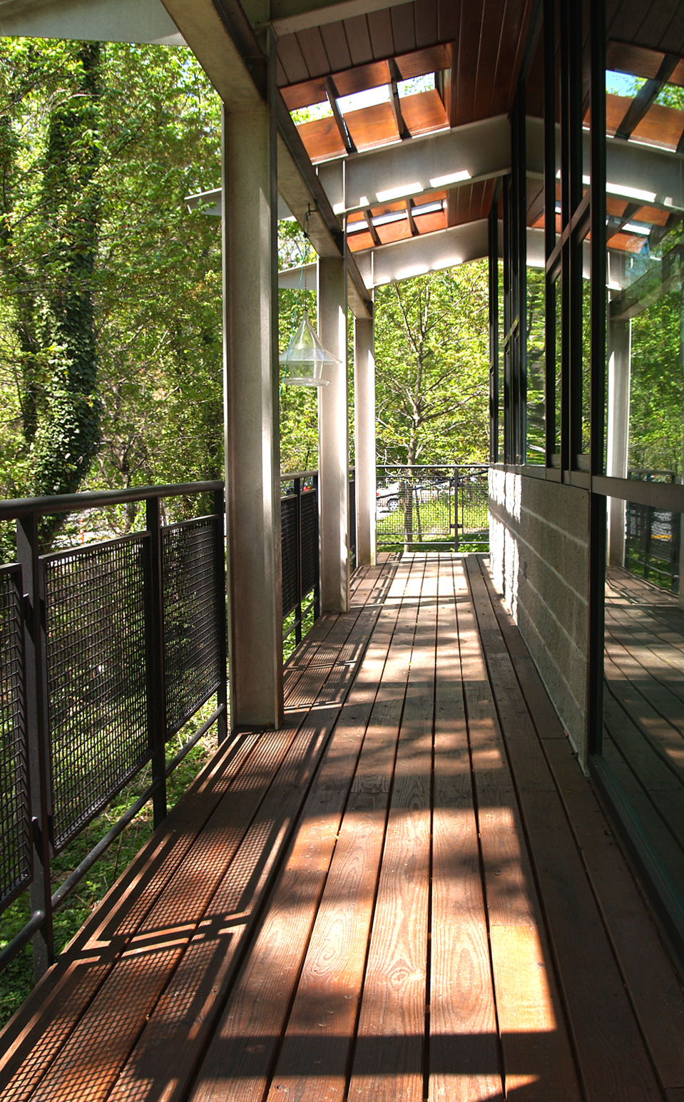 Banker Wire woven wire mesh creates a beautiful deck at this private school.