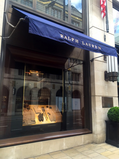 Outside of the Ralph Lauren Flagship London Store featuring decorative woven wire mesh pattern S-16.