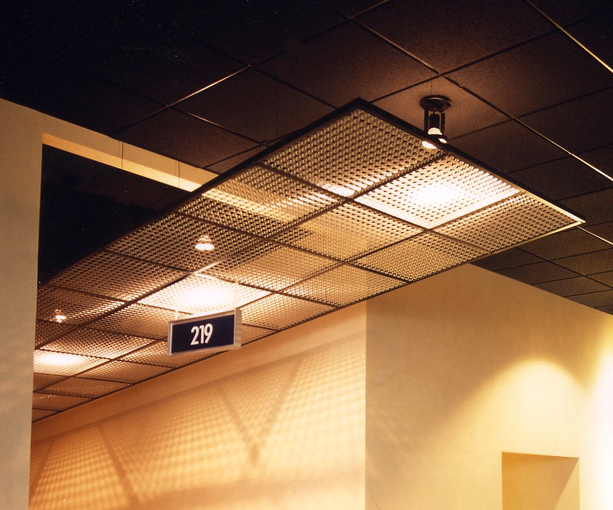 Banker Wire mesh is supported by large curved steel supports in this ceiling.