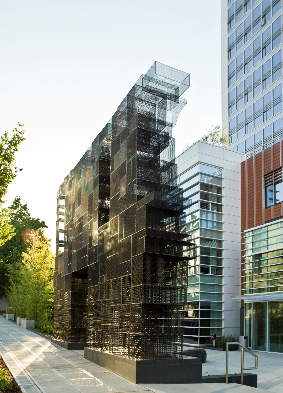 Banker Wire mesh provides the strength and durability required by this ambitious outdoor installation and the vast array of aesthetic options needed to realize the designer's creative approach.