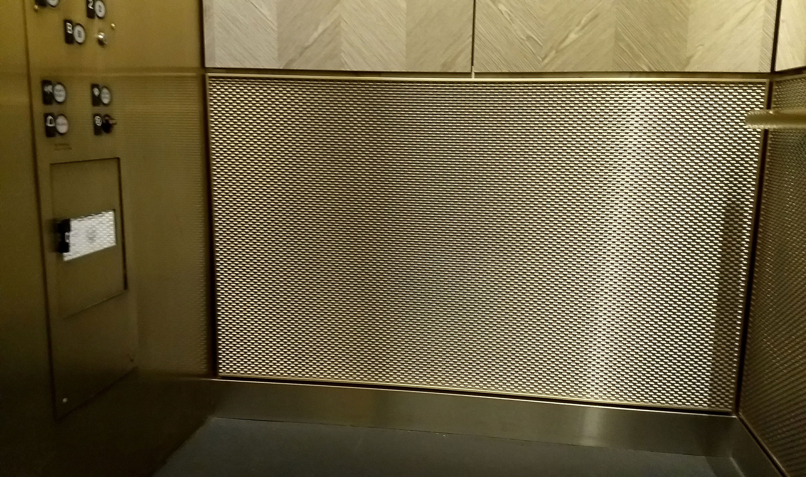 The flats of the DS-1 decorative mesh reflects the light and the bronze of the railing installed in the elevator cab.
