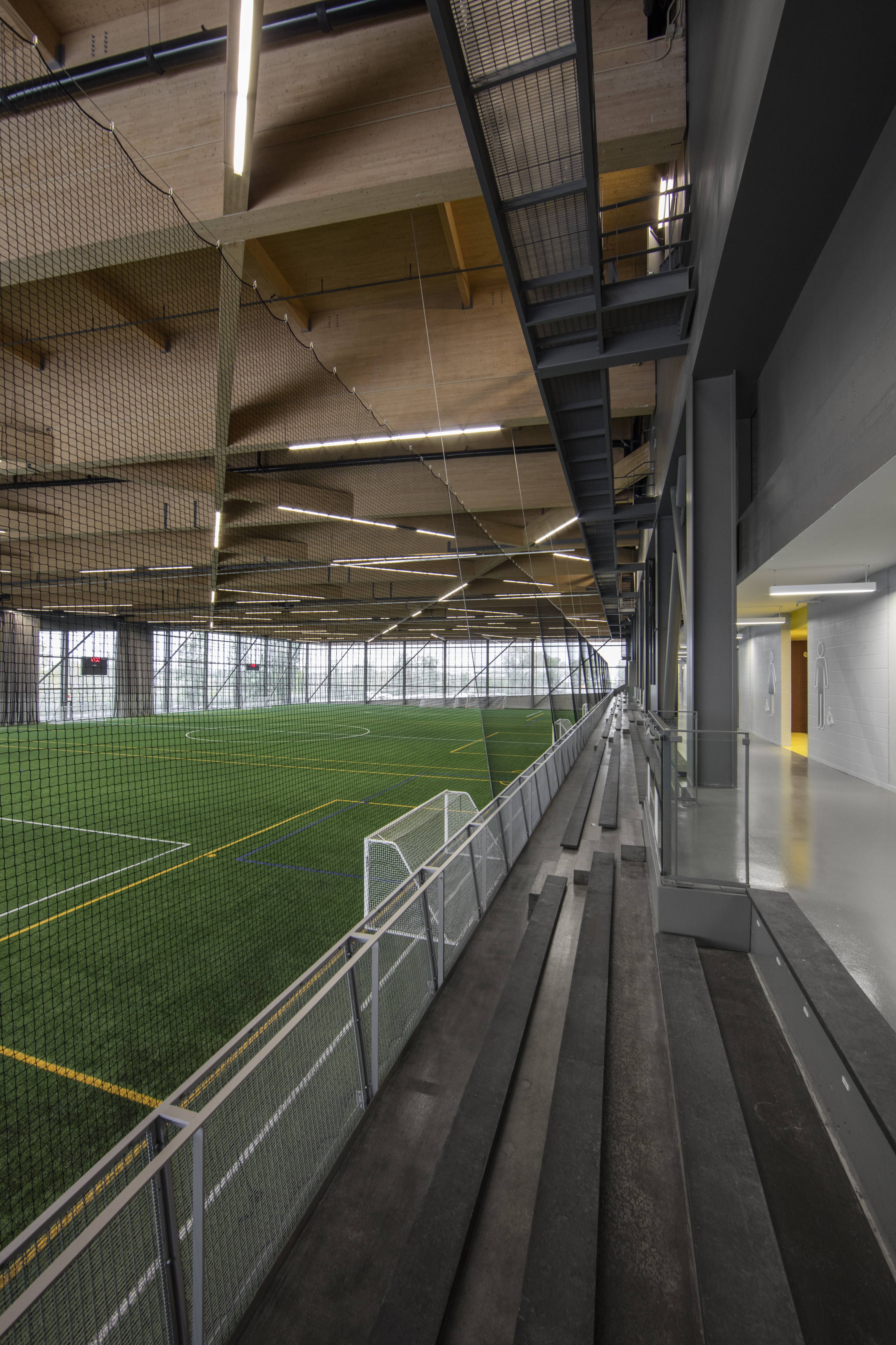 Banker Wire's M12Z-17 was selected as the enclosure, which doubles as a balcony railing, to protect the spectators and other people that utilize the facilities.