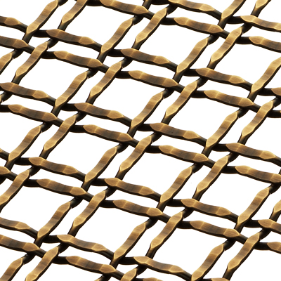 Banker Wire M22-22 wire mesh in Antique Brass plated finish