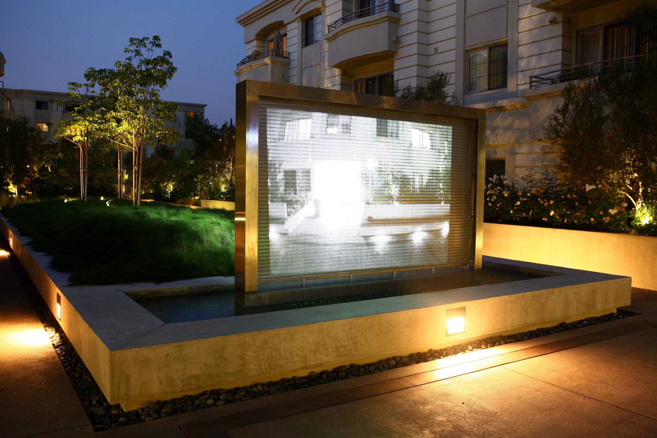Studio City RGB-Lit Waterfall Sculpture and Projection Screen