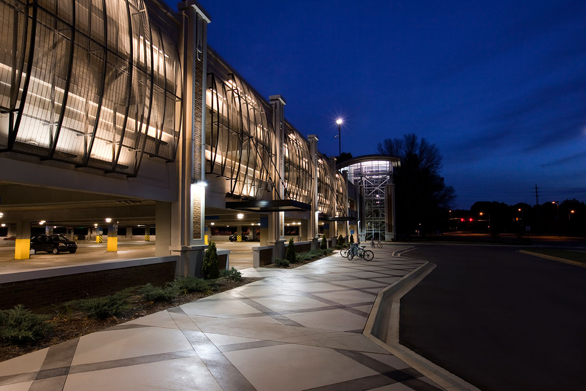 The transparency of this woven wire mesh creates an unusually appealing aesthetic for a parking garage.
