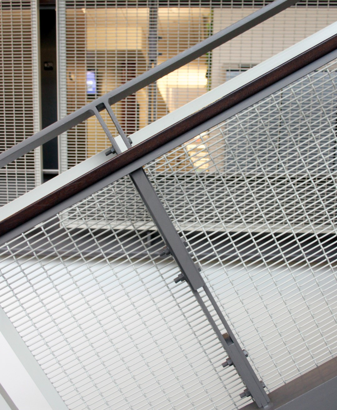 The  FPZ-16 wire mesh used at Frank A. Cassell Hall has rectangular openings more than three times as long as they are tall.