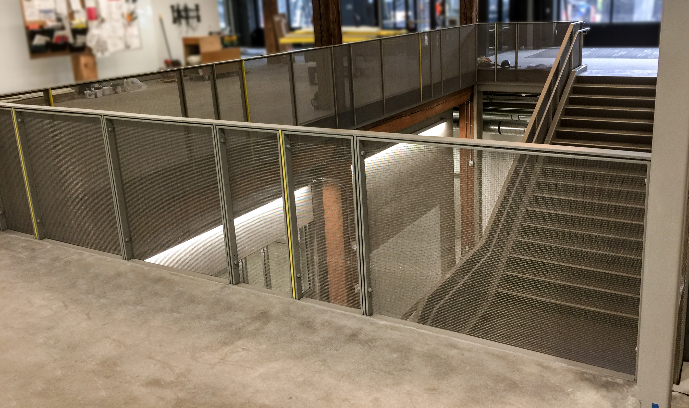 Railing infill panels by Banker Wire are seen here in the UW Tacoma TPS building.
