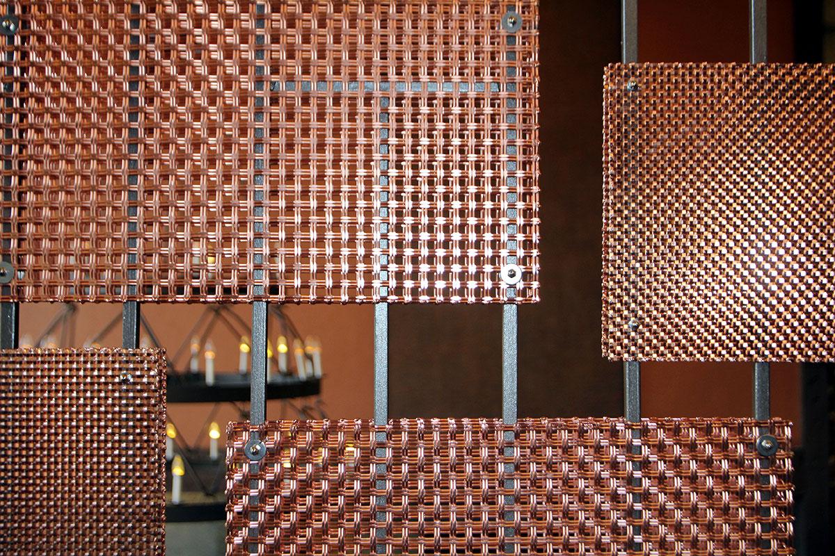 "Copper plating makes this metal mesh ""pop."""
