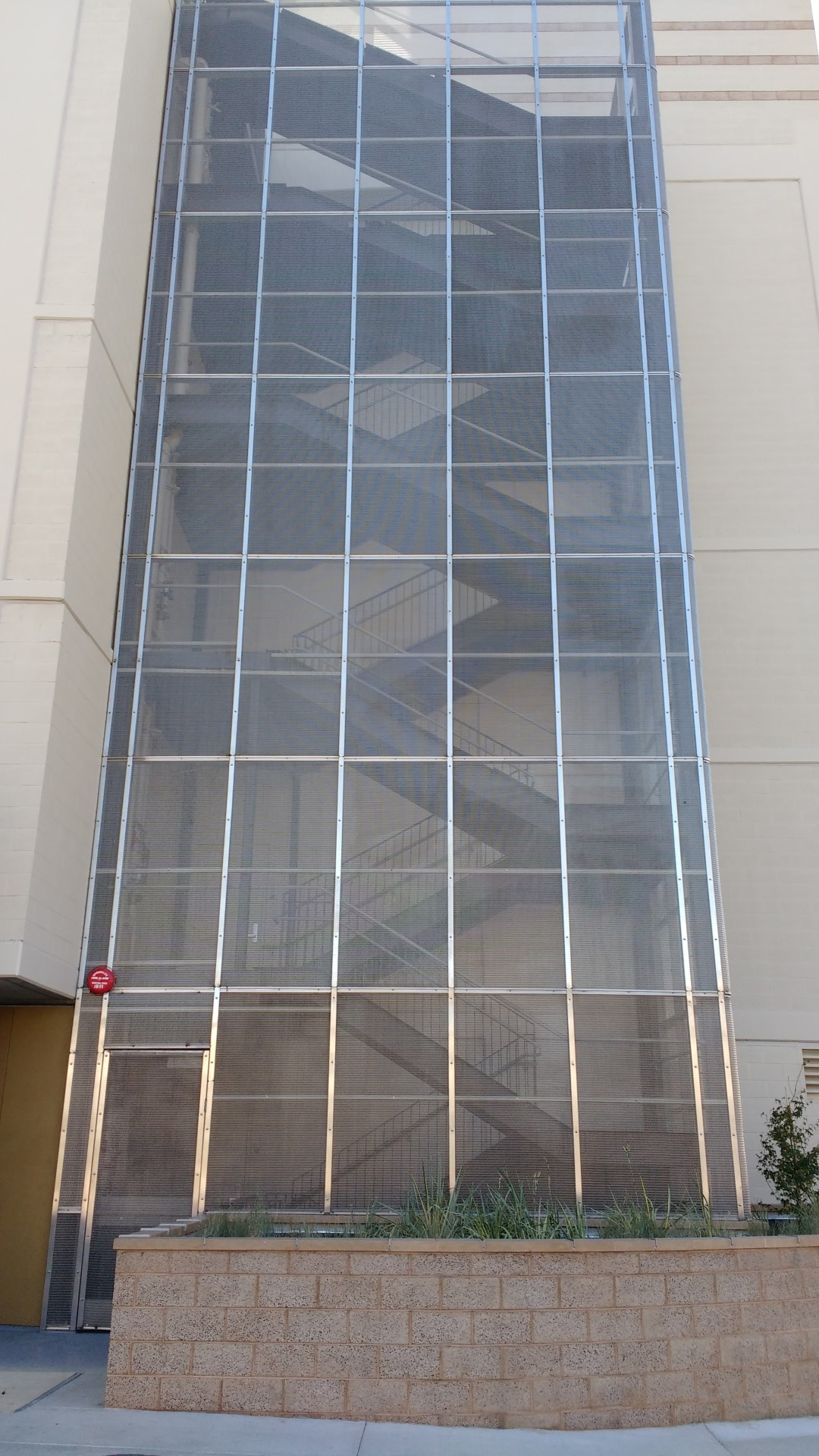 Banker Wire FPZ-10 woven wire mesh serves as an exterior design element.
