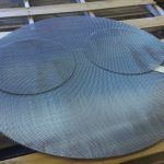 Wire mesh circle cuts on laser table